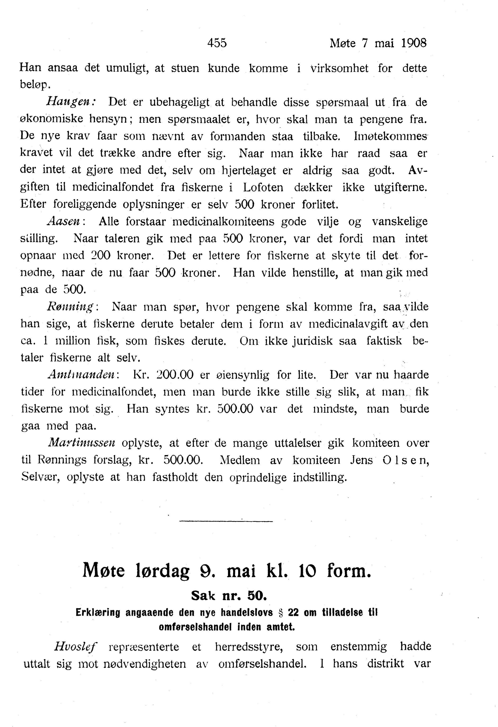 AIN, Nordland Fylkeskommune. Fylkestinget, A/Ac/L0031: Fylkestingsforhandlinger 1908, 1908, p. 455