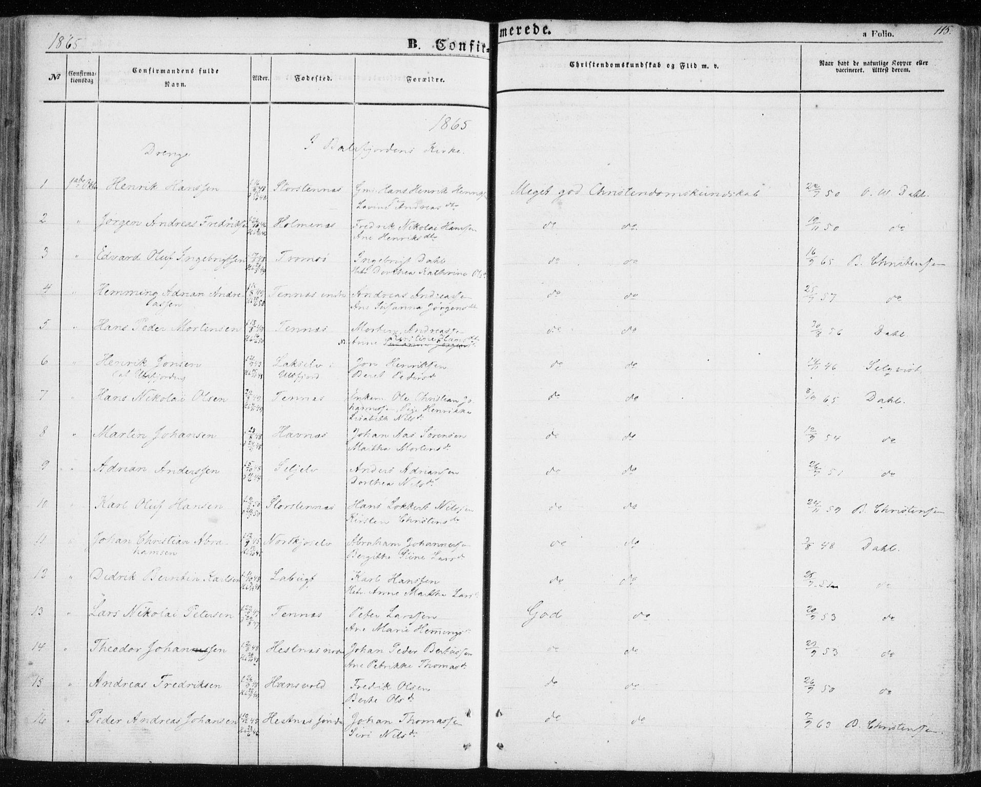 SATØ, Balsfjord sokneprestembete, Parish register (official) no. 3, 1856-1870, p. 115