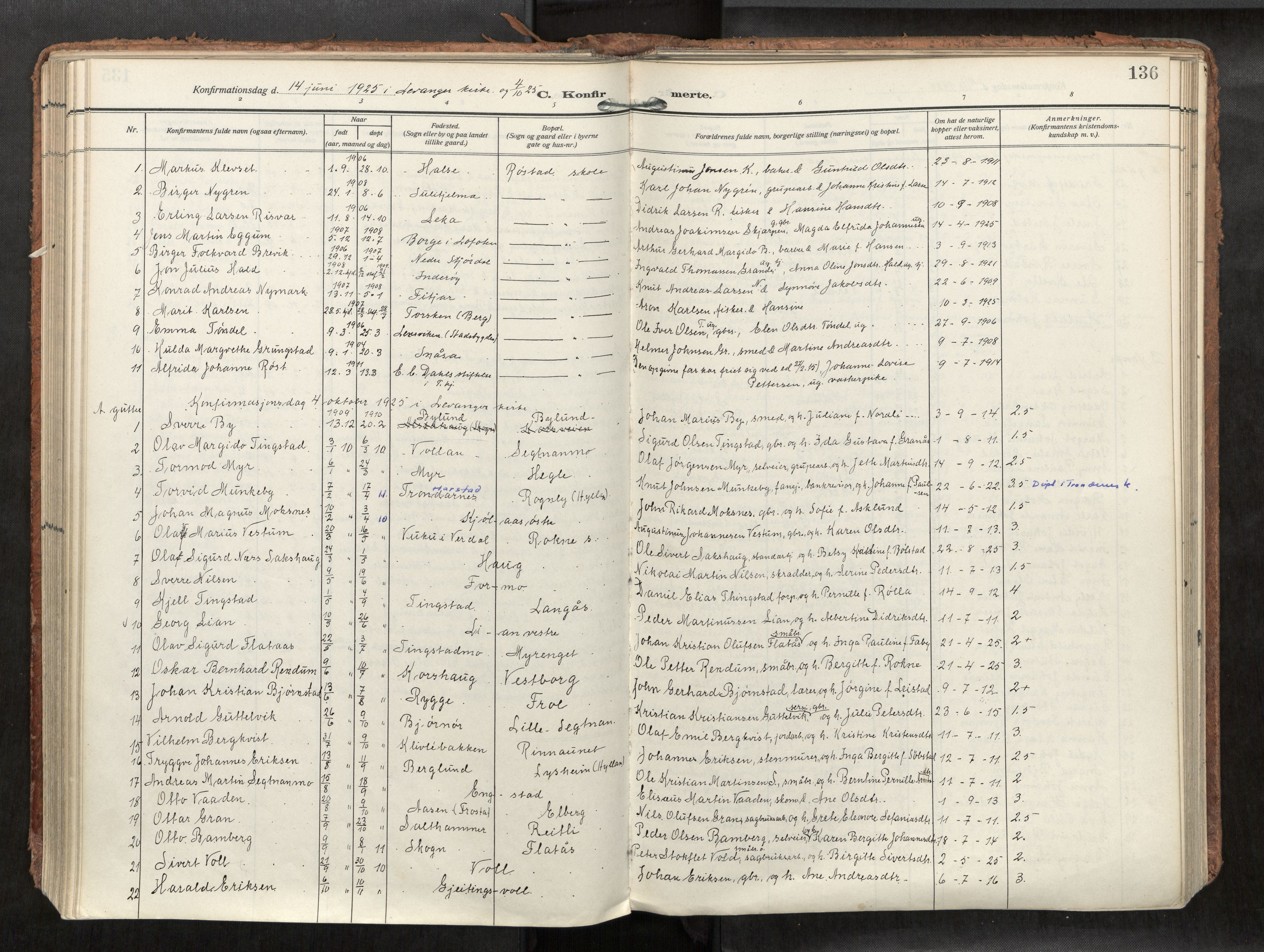 SAT, Levanger sokneprestkontor*, Parish register (official) no. 1, 1912-1935, p. 136