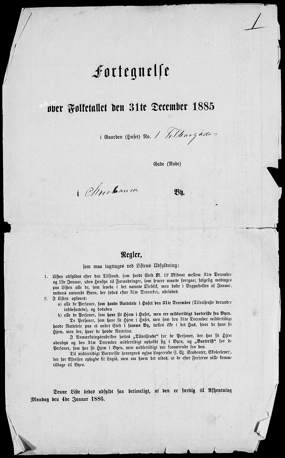 RA, 1885 census for 0301 Kristiania, 1885, p. 4600
