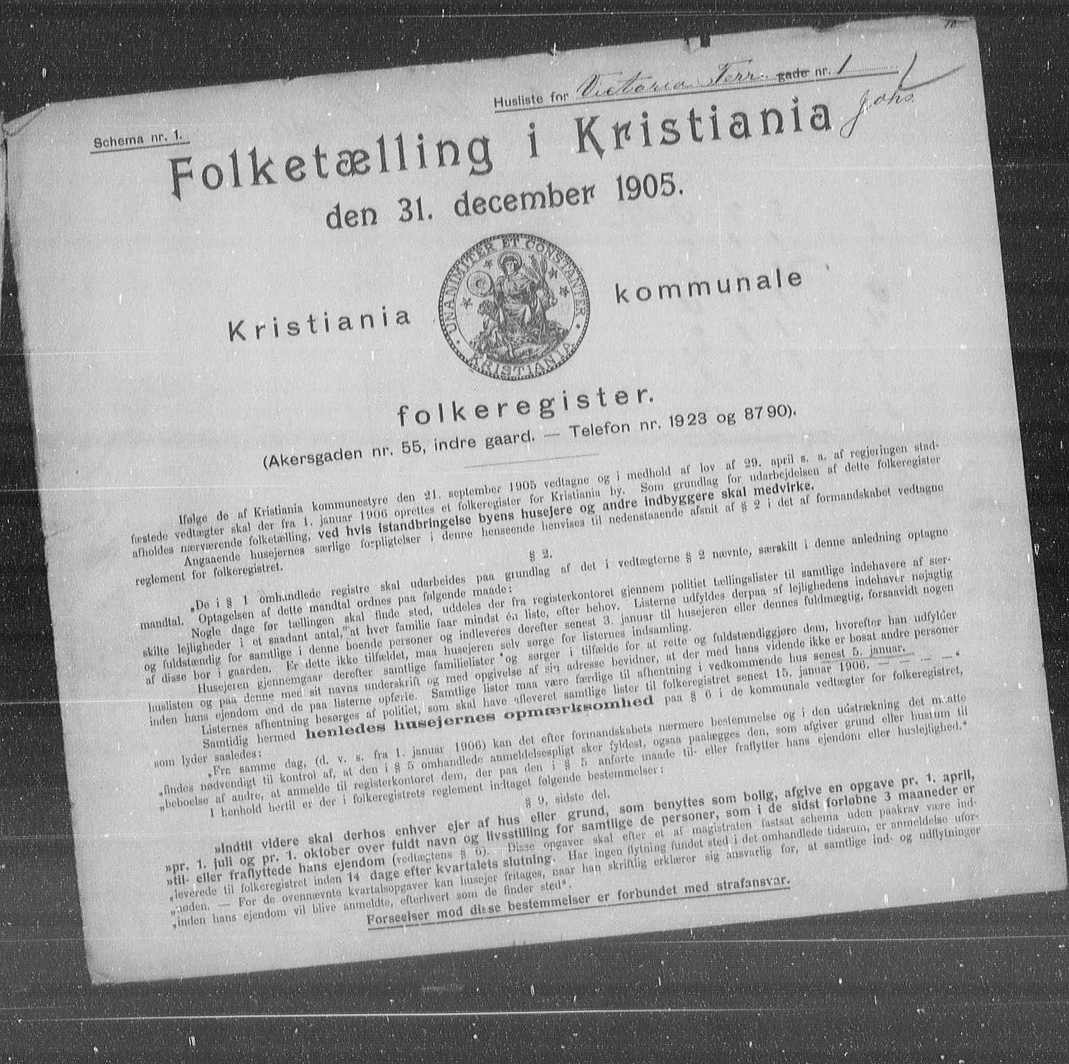 OBA, Municipal Census 1905 for Kristiania, 1905, p. 65439