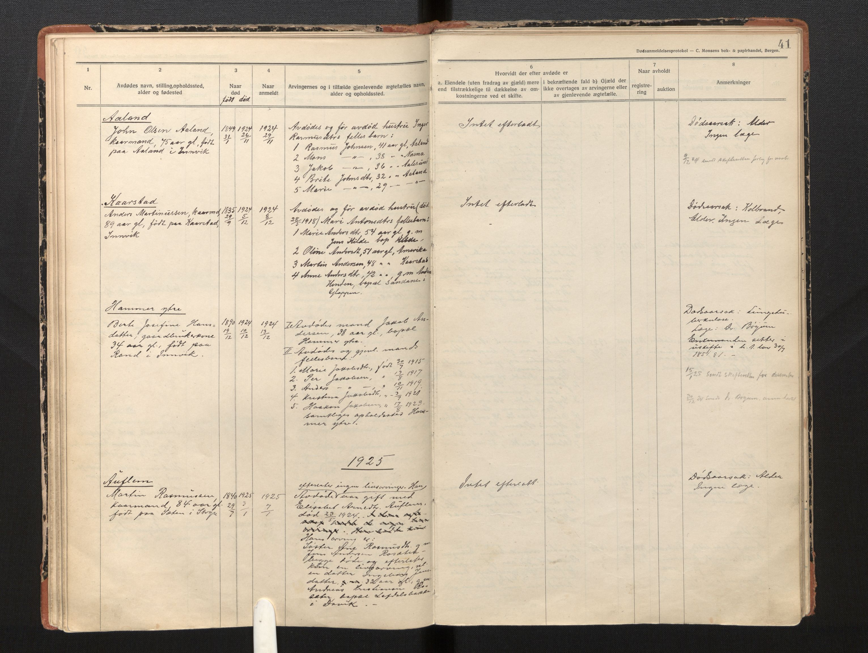 SAB, Lensmannen i Innvik, 0006/L0005: Dødsfallprotokoll, 1921-1932, p. 40b-41a