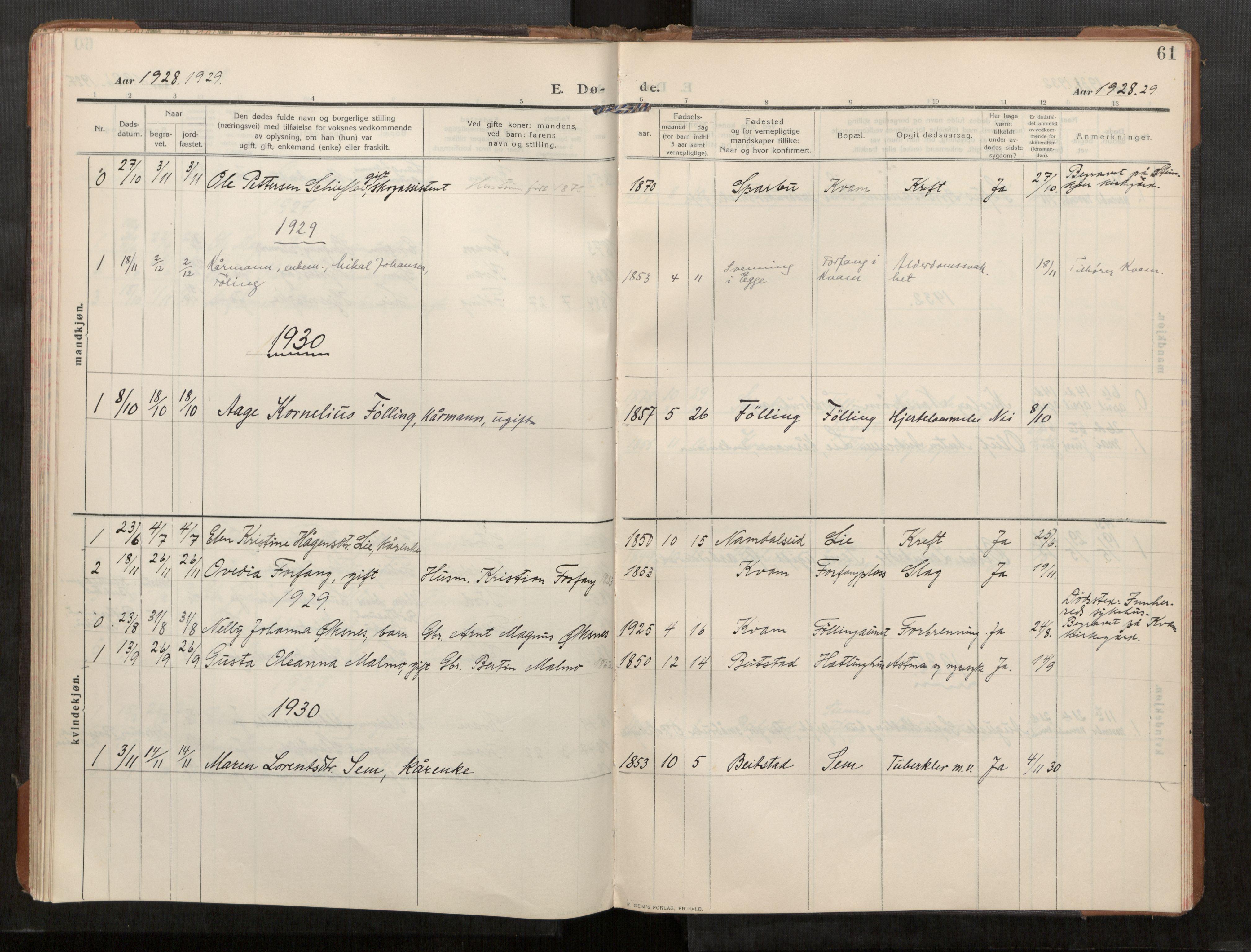 SAT, Stod sokneprestkontor, I/I1/I1a/L0003: Parish register (official) no. 3, 1909-1934, p. 61