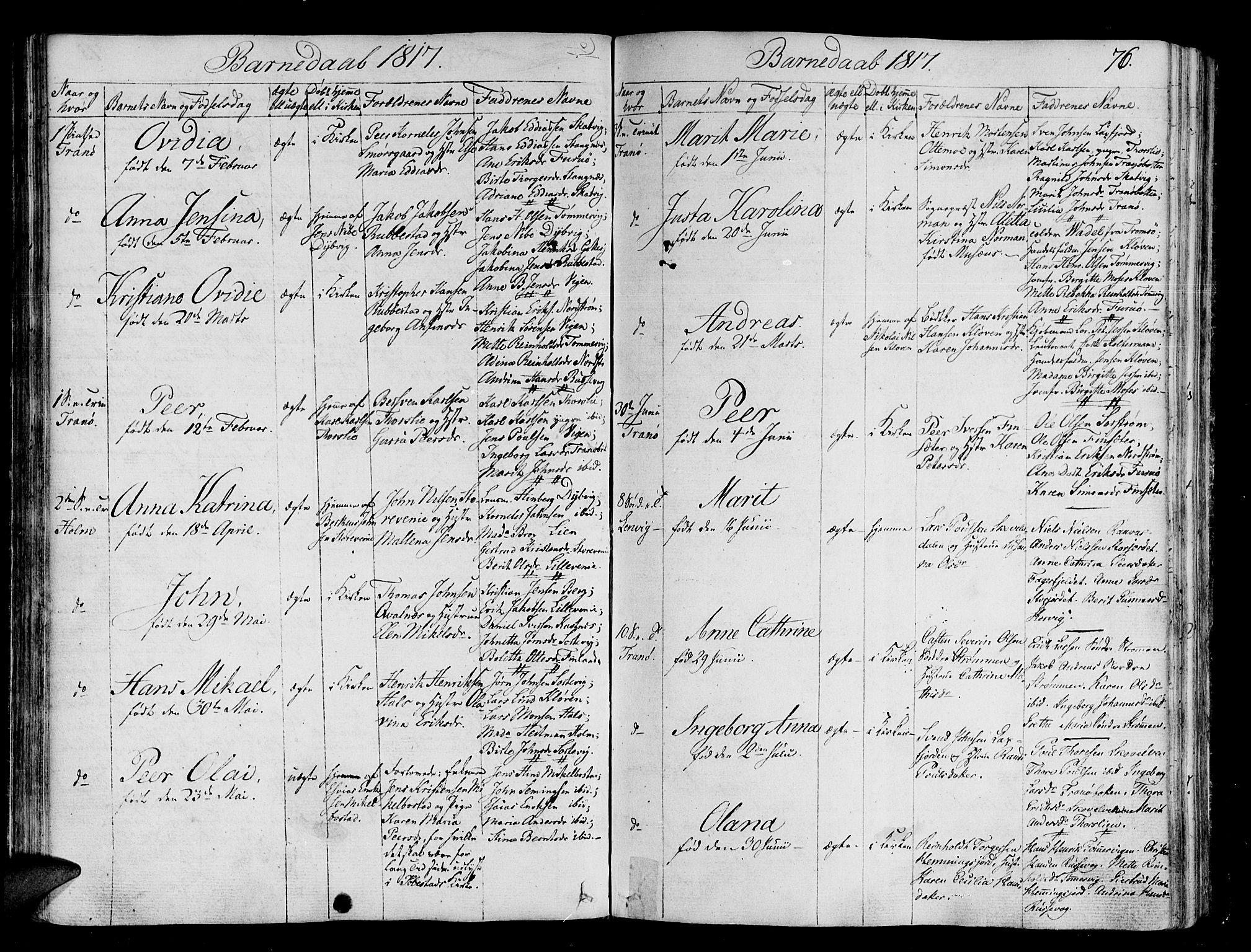 SATØ, Tranøy sokneprestkontor, I/Ia/Iaa/L0003kirke: Parish register (official) no. 3, 1807-1820, p. 76