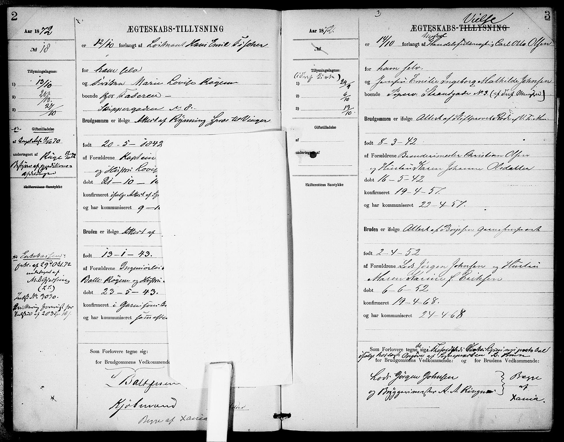 SAO, Garnisonsmenigheten Kirkebøker, H/Ha/L0007: Banns register no. I 7, 1872-1893, p. 2-3