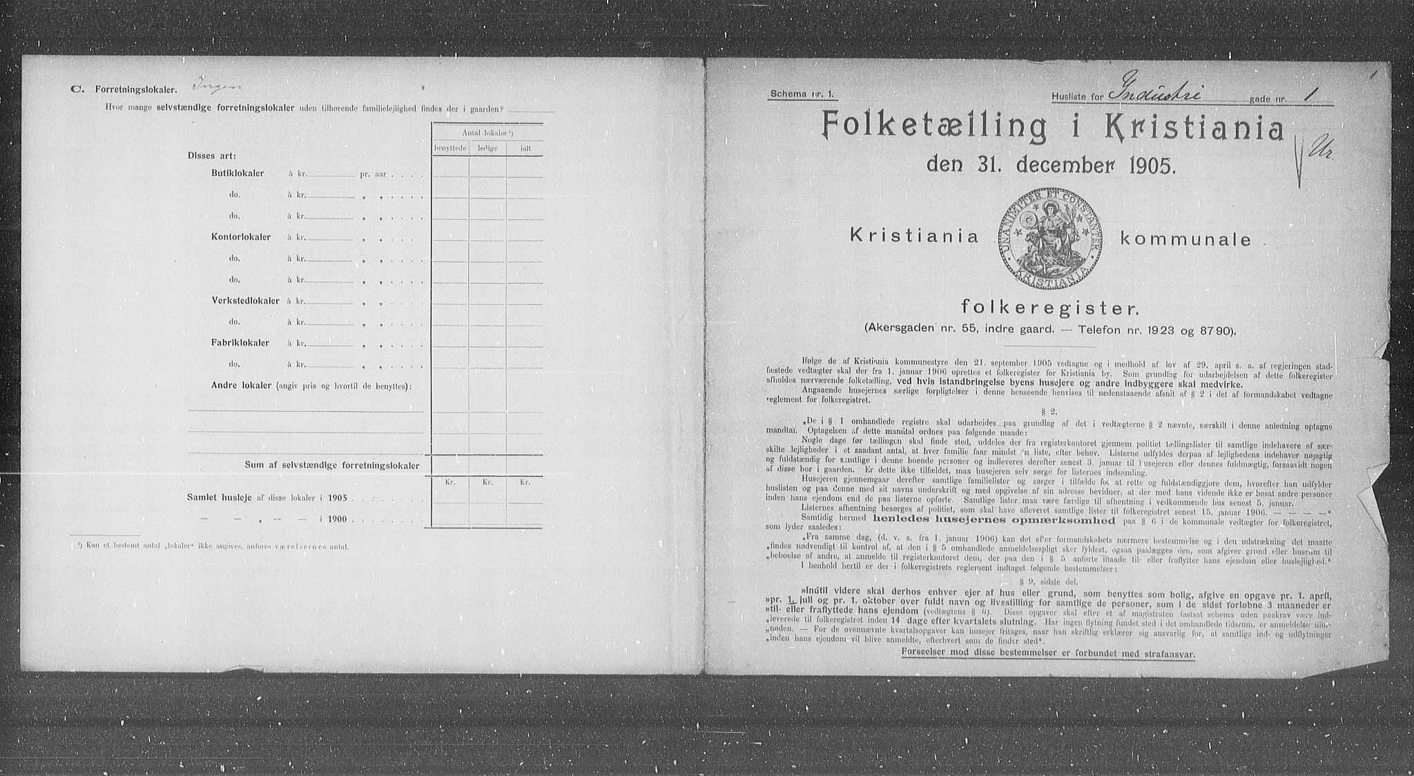 OBA, Municipal Census 1905 for Kristiania, 1905, p. 22743