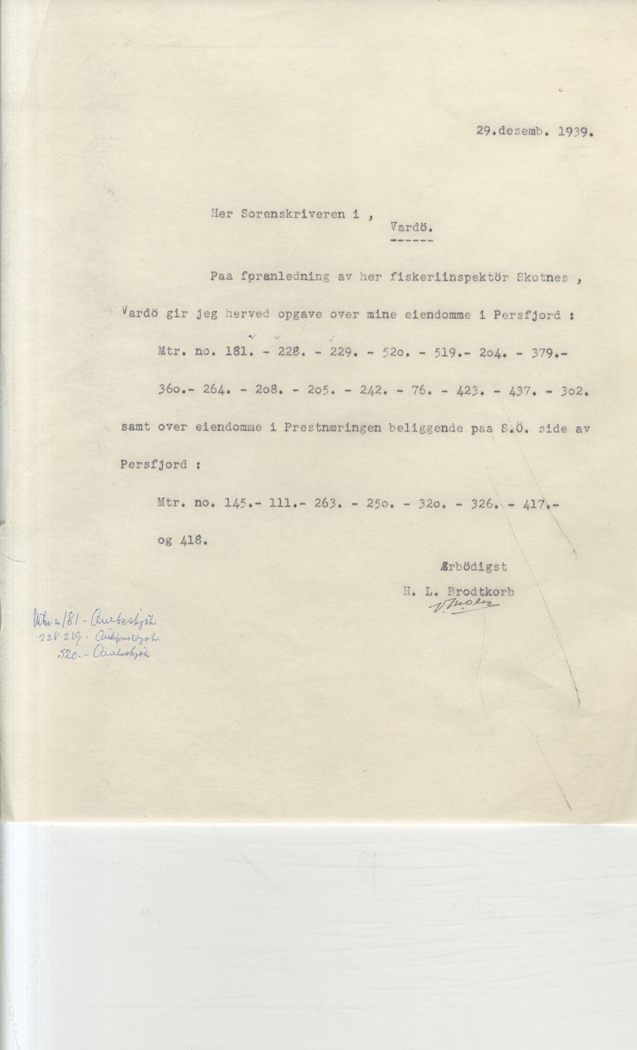 VAMU, Brodtkorb handel A/S, Q/Qb/L0003: Faste eiendommer i Vardø Herred, 1862-1939, p. 39