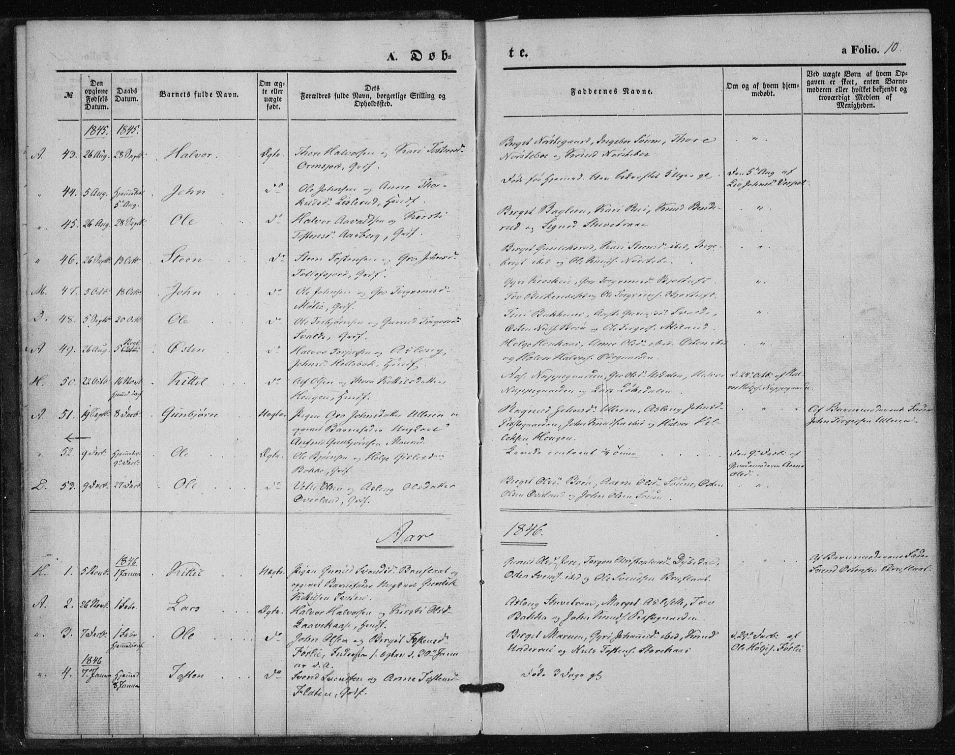 SAKO, Tinn kirkebøker, F/Fa/L0005: Parish register (official) no. I 5, 1844-1856, p. 10