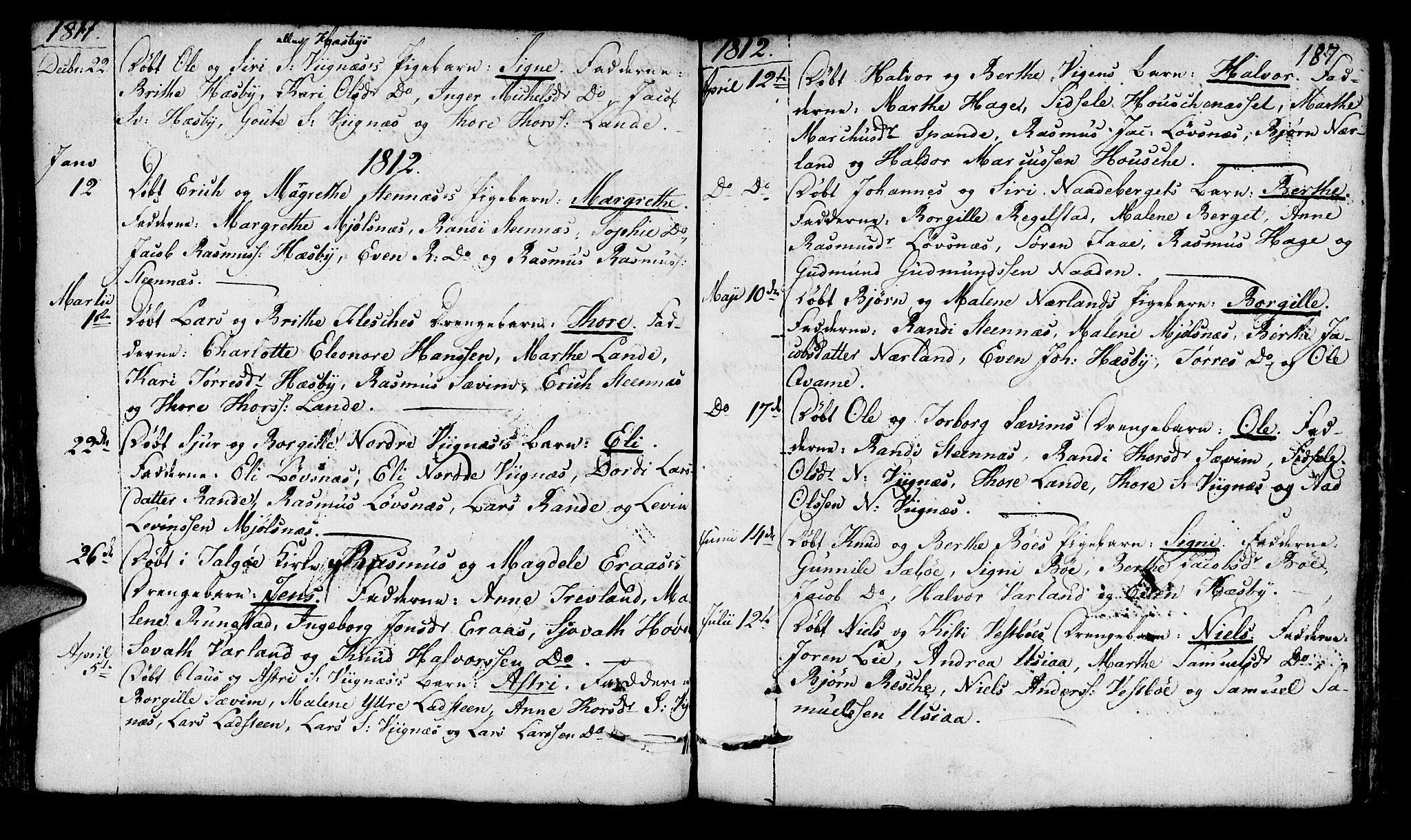 SAST, Finnøy sokneprestkontor, H/Ha/Haa/L0005: Parish register (official) no. A 5, 1773-1816, p. 187