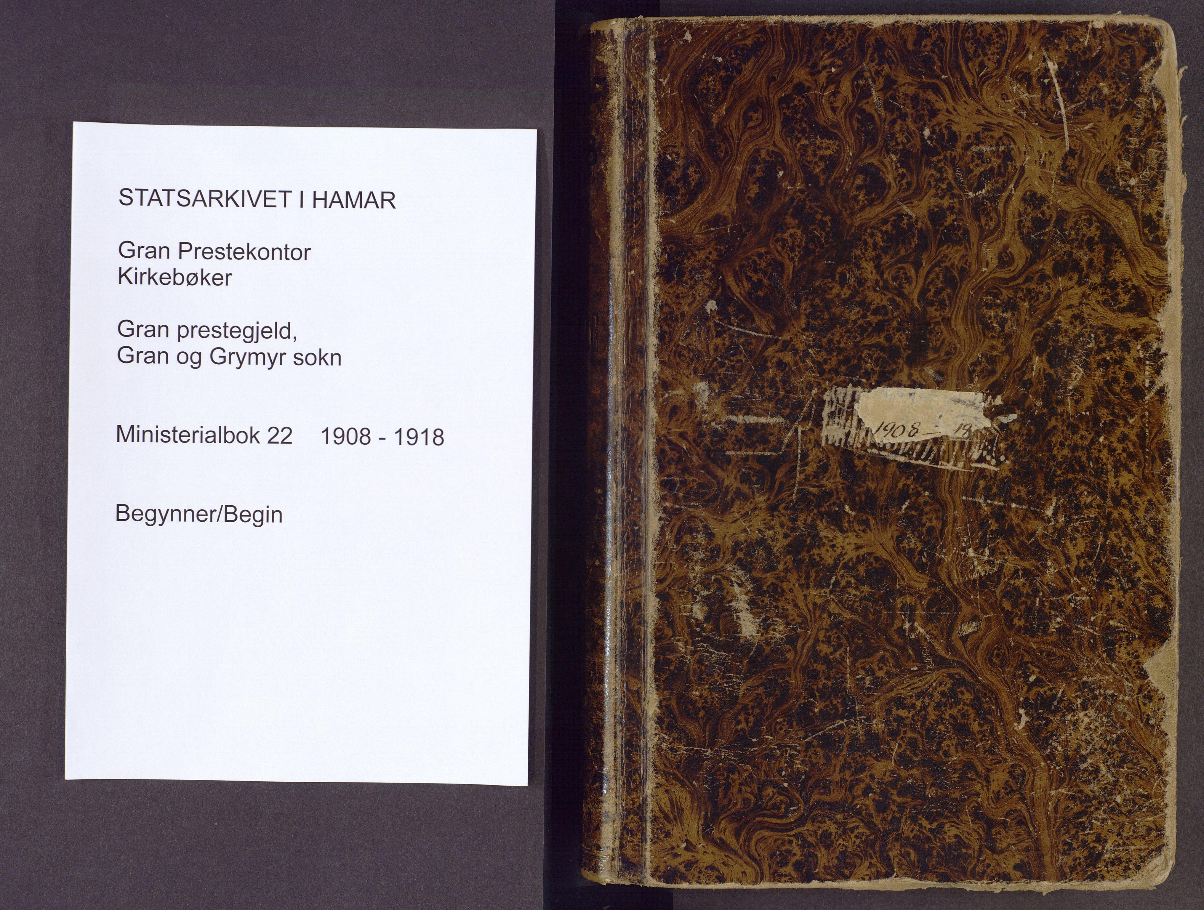 SAH, Gran prestekontor, Parish register (official) no. 22, 1908-1918