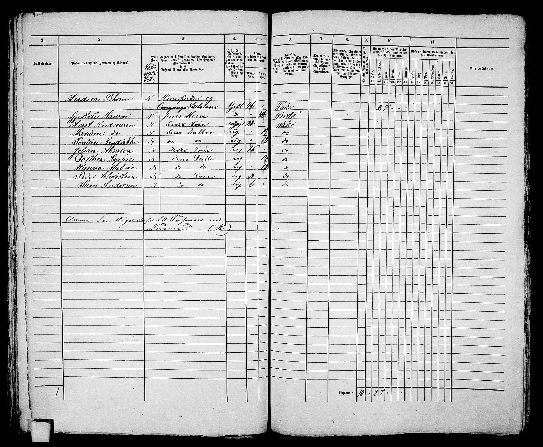 RA, 1865 census for Vadsø/Vadsø, 1865, p. 168