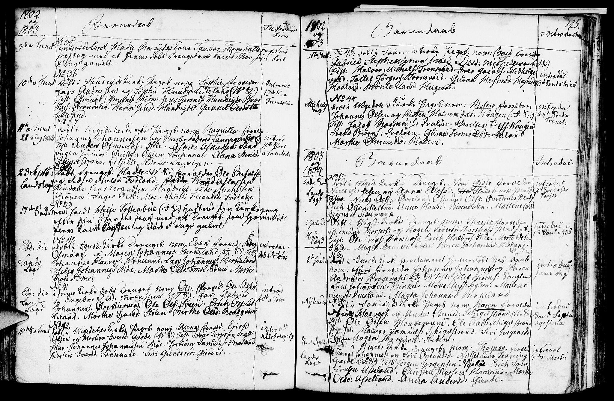 SAST, Vikedal sokneprestkontor, IV: Parish register (official) no. A 2, 1779-1817, p. 145