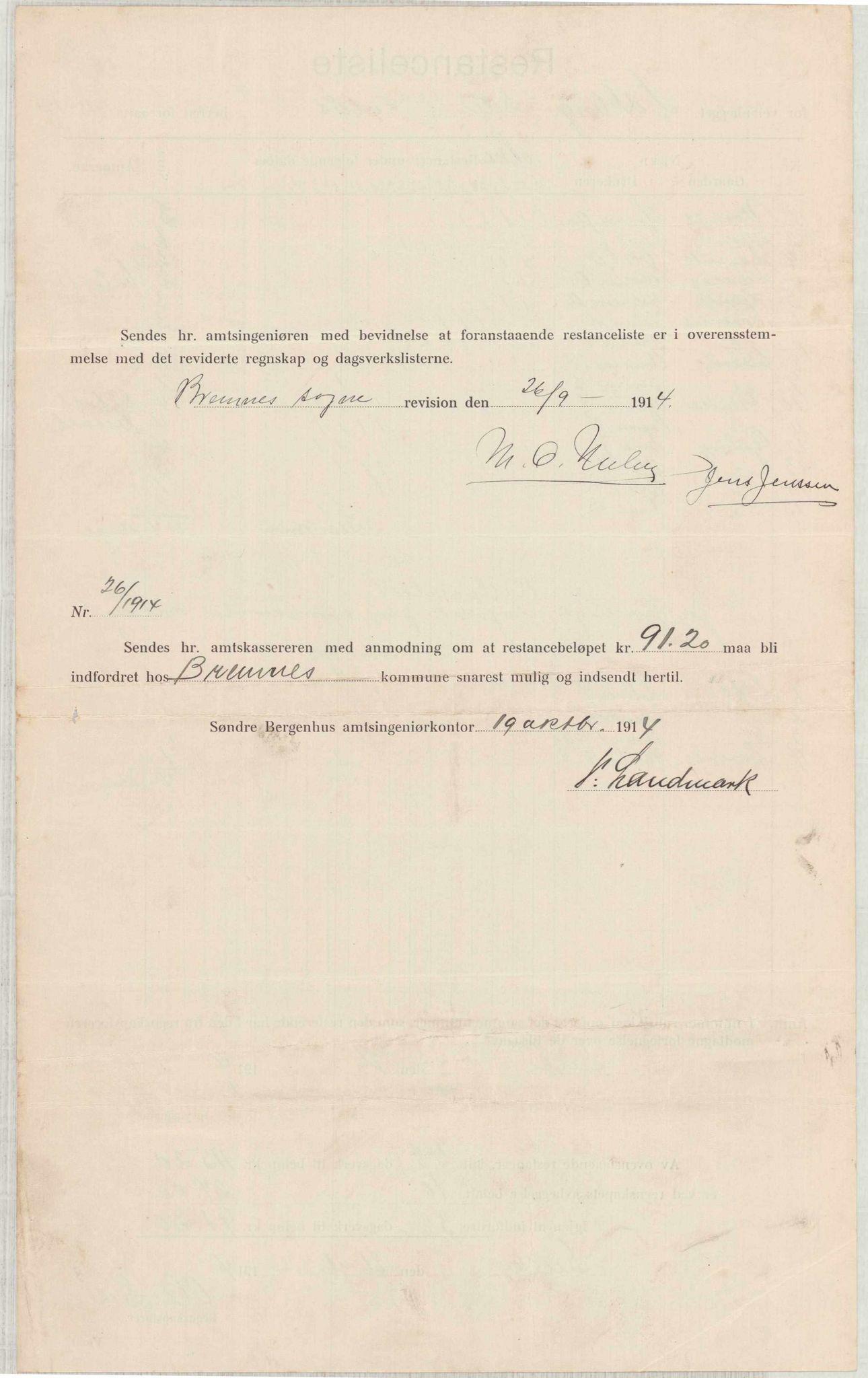 IKAH, Finnaas kommune. Formannskapet, E/Ea/L0001: Rekneskap for veganlegg, 1913-1916, p. 2