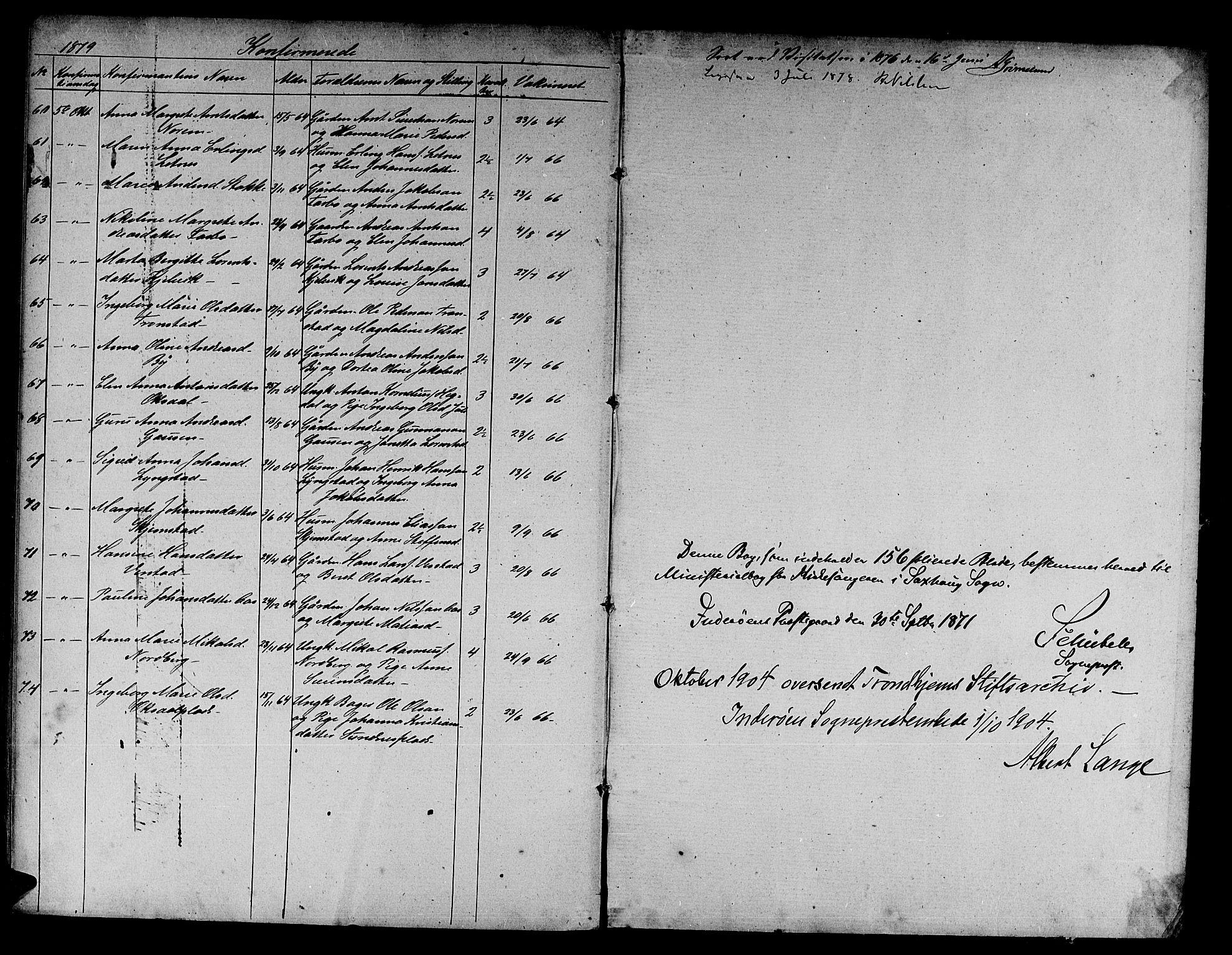 SAT, Ministerialprotokoller, klokkerbøker og fødselsregistre - Nord-Trøndelag, 730/L0300: Parish register (copy) no. 730C03, 1872-1879, p. 157