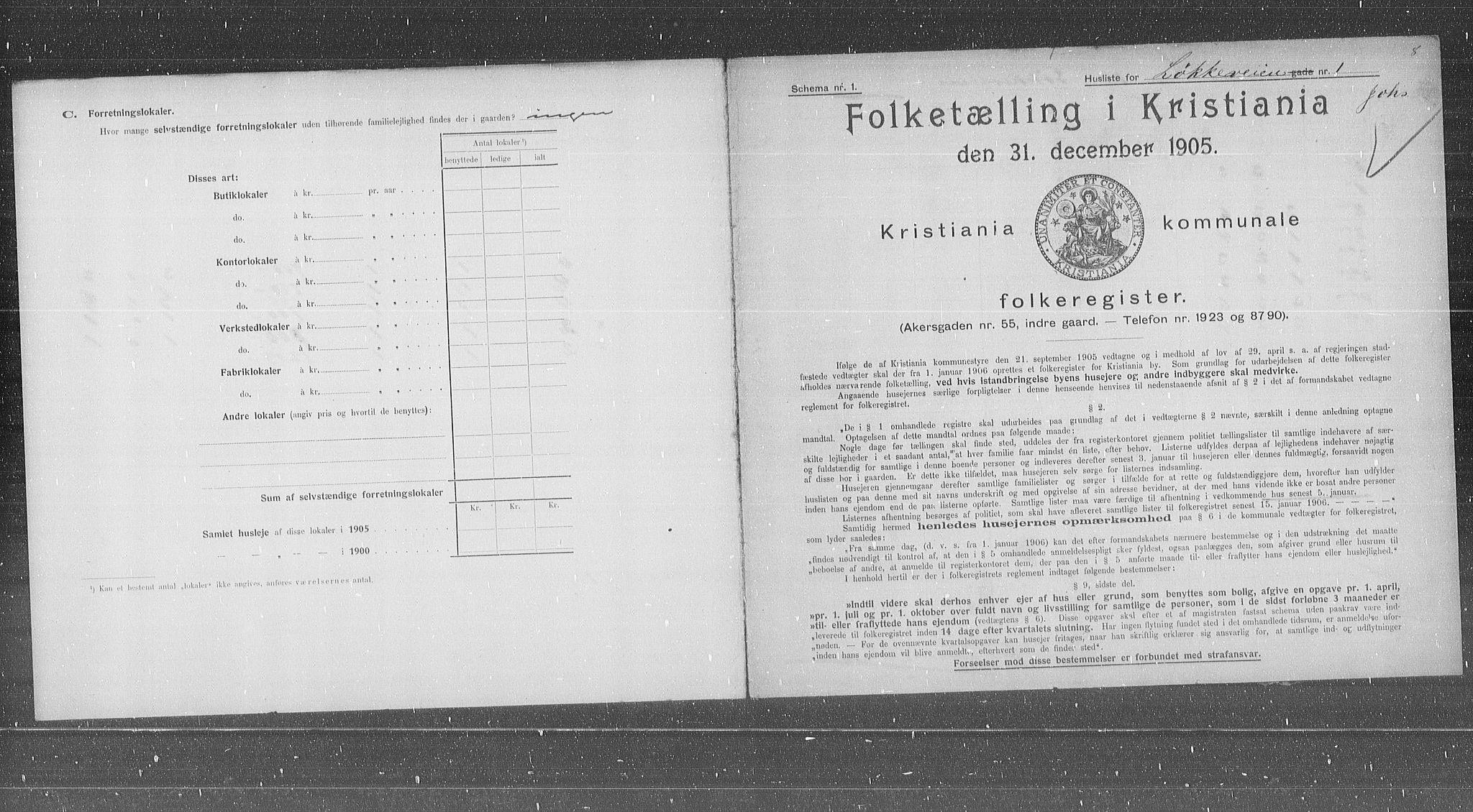 OBA, Municipal Census 1905 for Kristiania, 1905, p. 30843