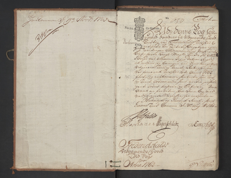 RA, Generaltollkammeret, tollregnskaper, R01/L0047: Tollregnskaper Fredrikshald, 1762, p. 1a
