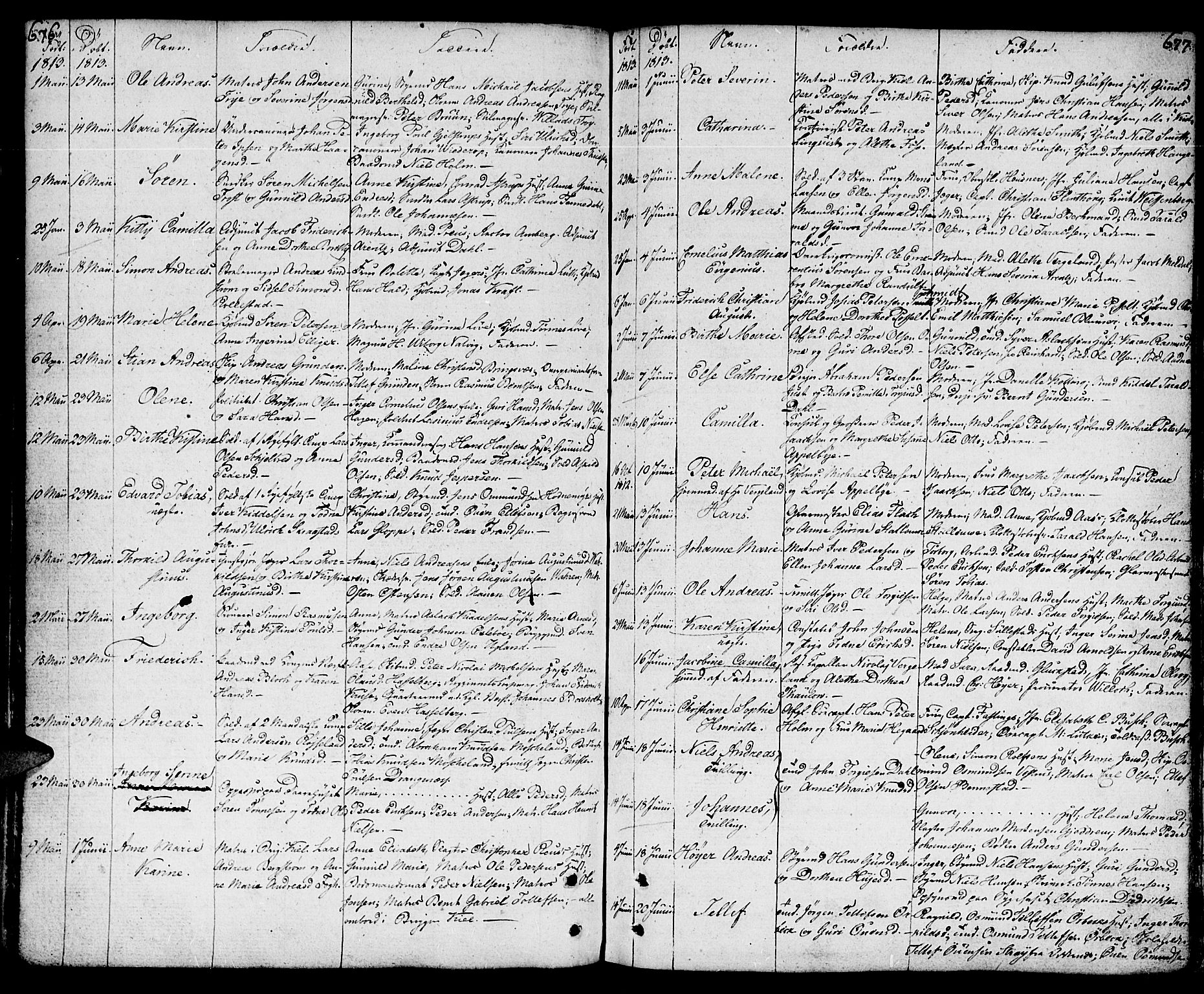 SAK, Kristiansand domprosti, F/Fa/L0003: Parish register (official) no. A 3, 1778-1818, p. 676-677