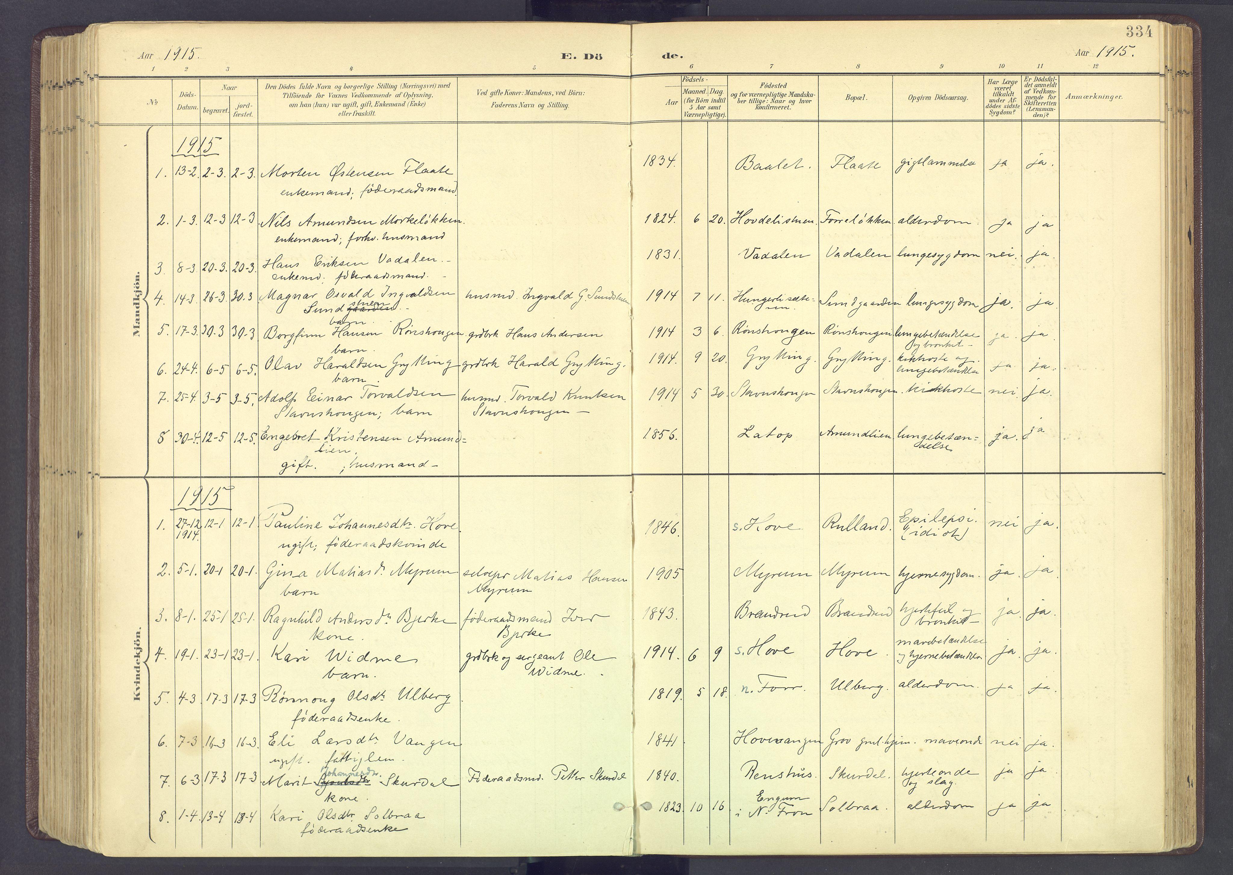 SAH, Sør-Fron prestekontor, H/Ha/Haa/L0004: Parish register (official) no. 4, 1898-1919, p. 334