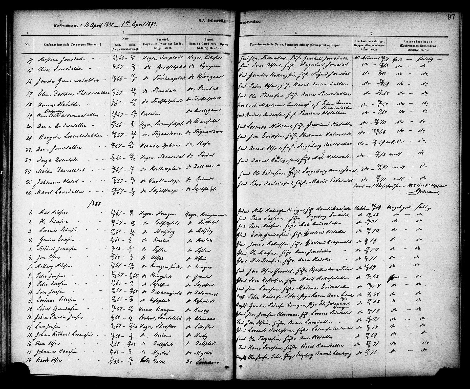 SAT, Ministerialprotokoller, klokkerbøker og fødselsregistre - Nord-Trøndelag, 703/L0030: Parish register (official) no. 703A03, 1880-1892, p. 97