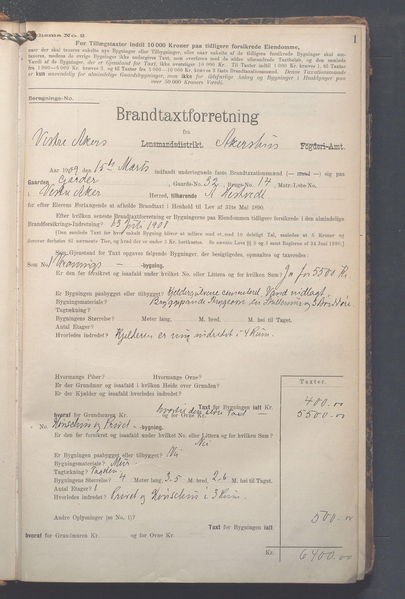 OBA, Lensmennene i Aker, F/Fa/L0014: Branntakstprotokoll, 1909-1921, p. 1