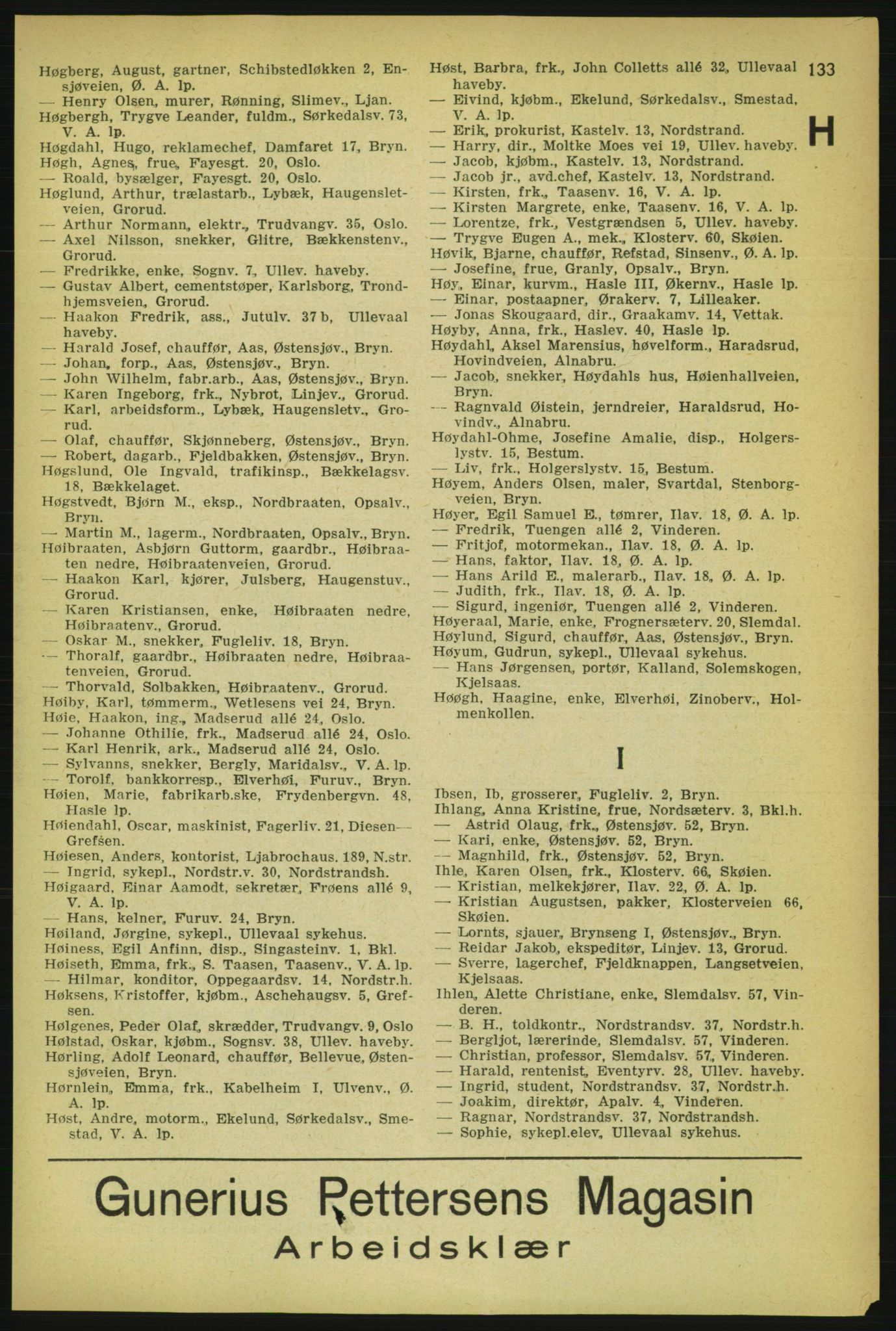 RA, Aker adressebok/adressekalender (publikasjon)*, 1929, p. 133
