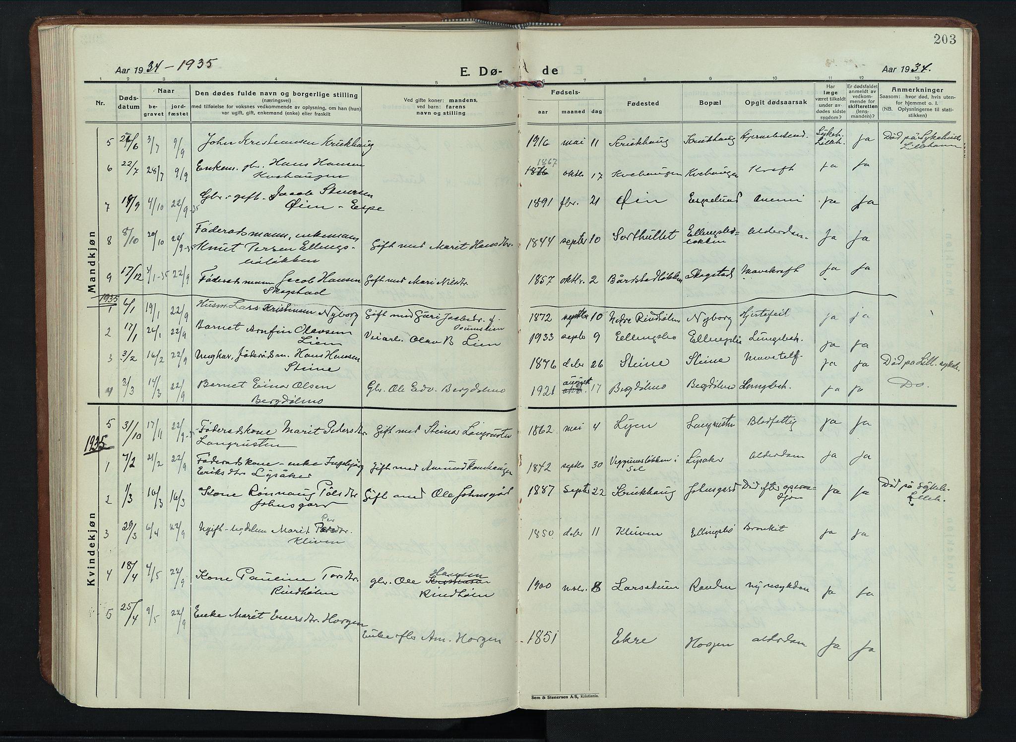 SAH, Sel prestekontor, Parish register (copy) no. 6, 1923-1953, p. 203