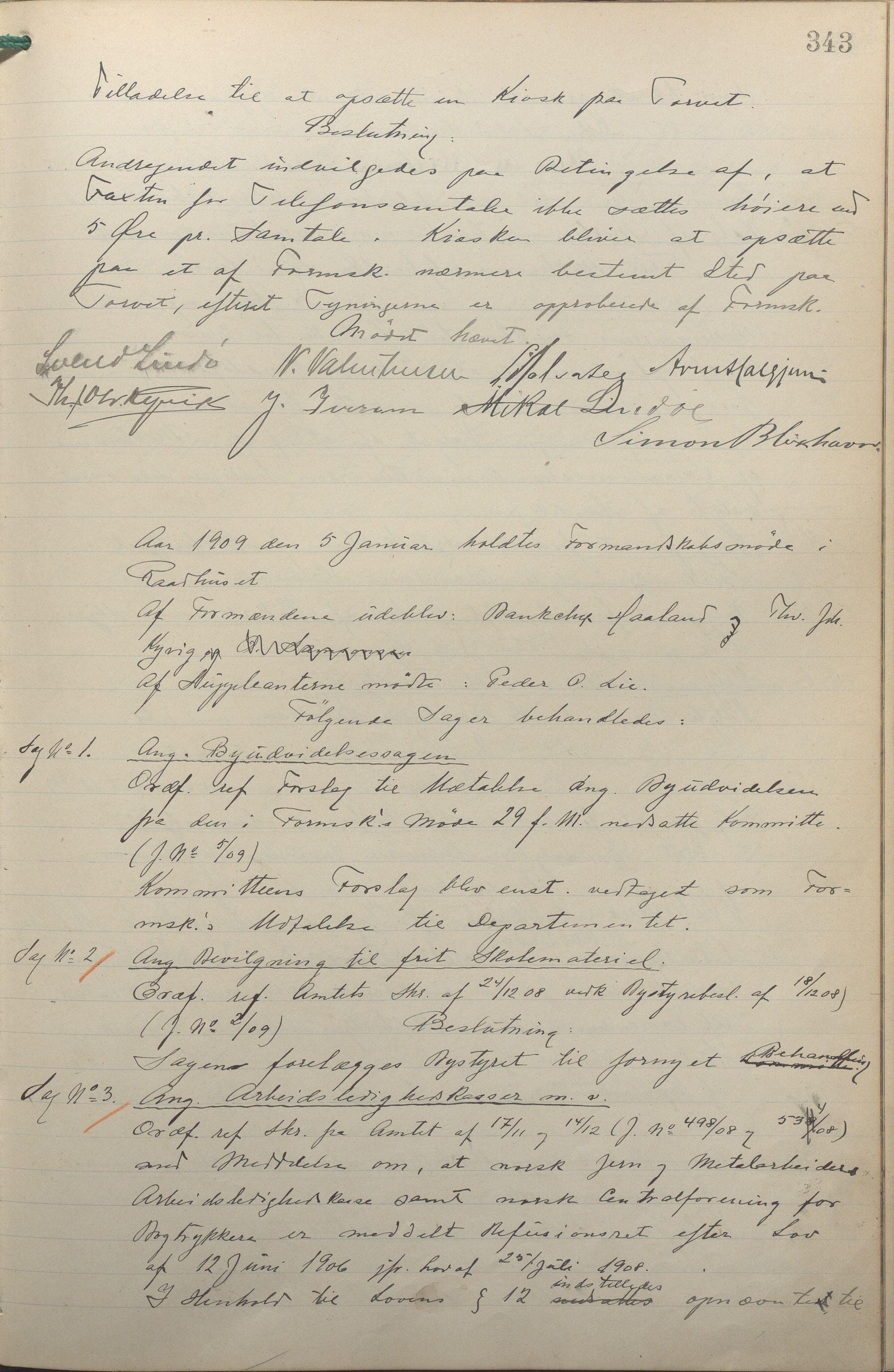 IKAR, Haugesund kommune - Formannskapet, 1906-1910, p. 343