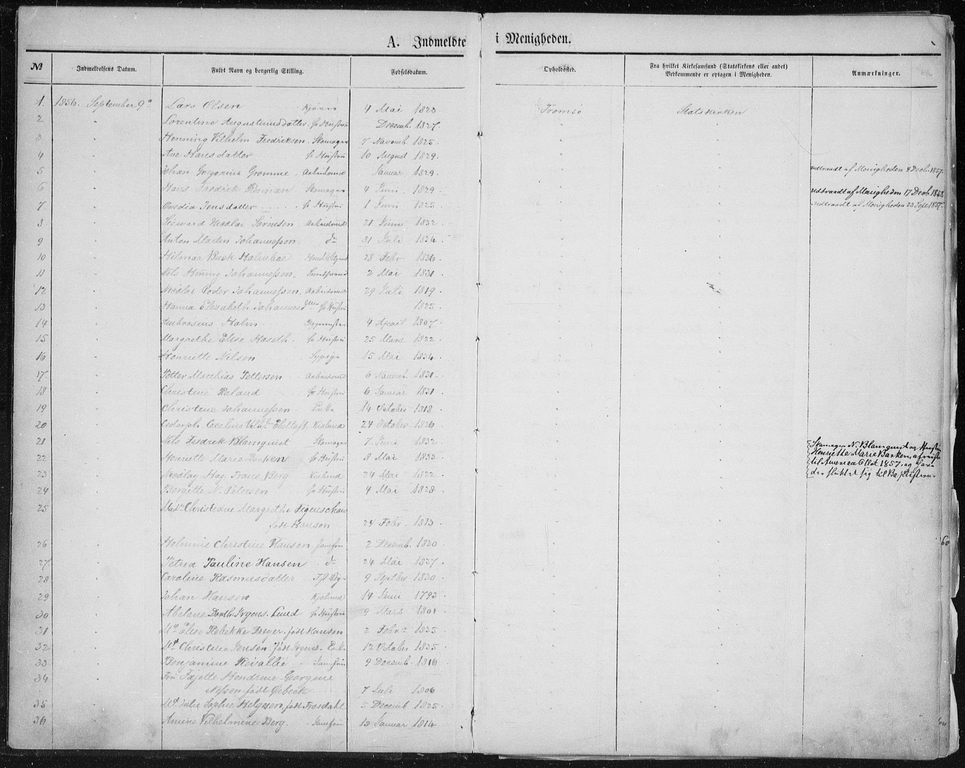 SATØ, Uten arkivreferanse, Dissenter register no. DP 1, 1856-1892