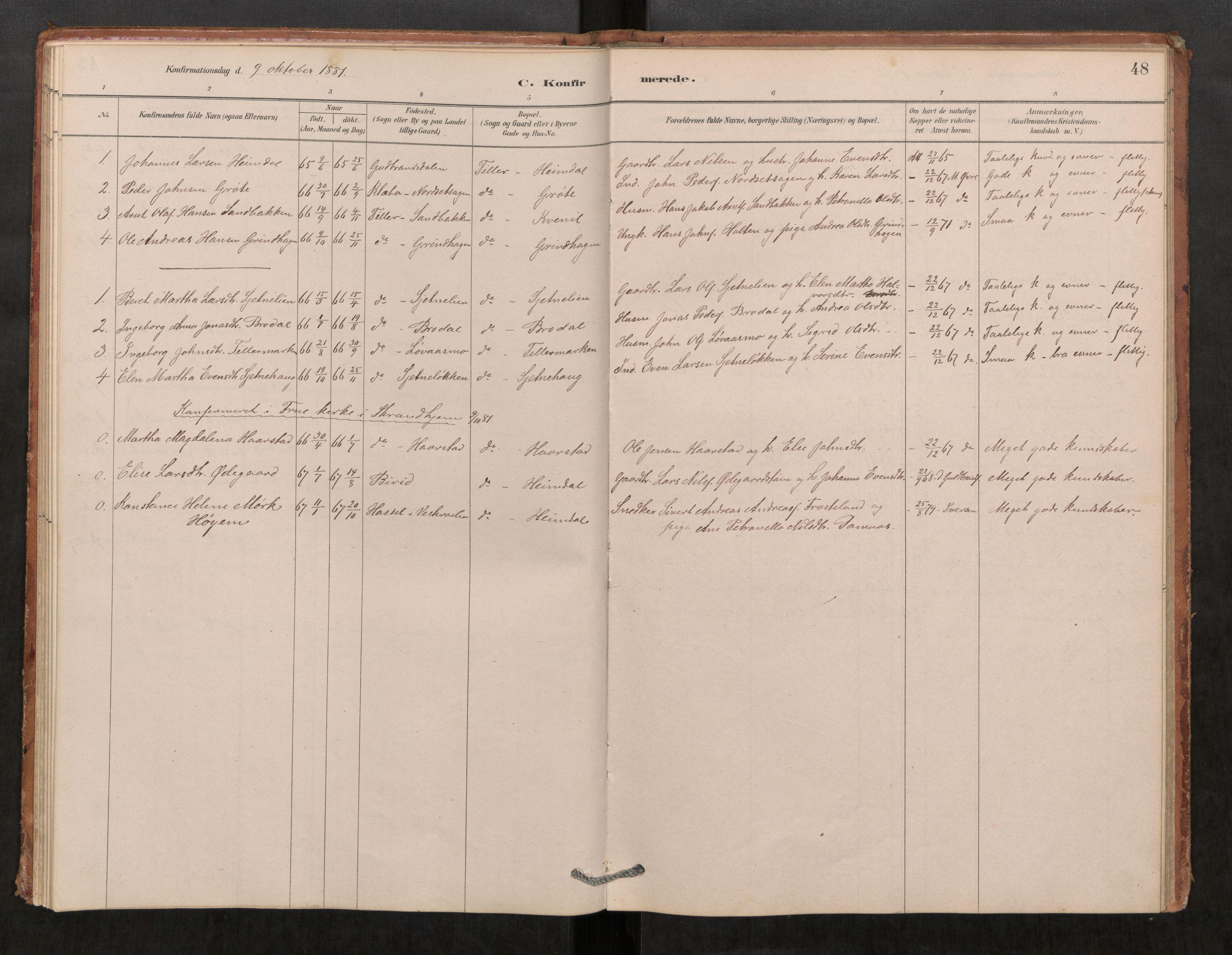 SAT, Klæbu sokneprestkontor, Parish register (official) no. 1, 1880-1900, p. 48