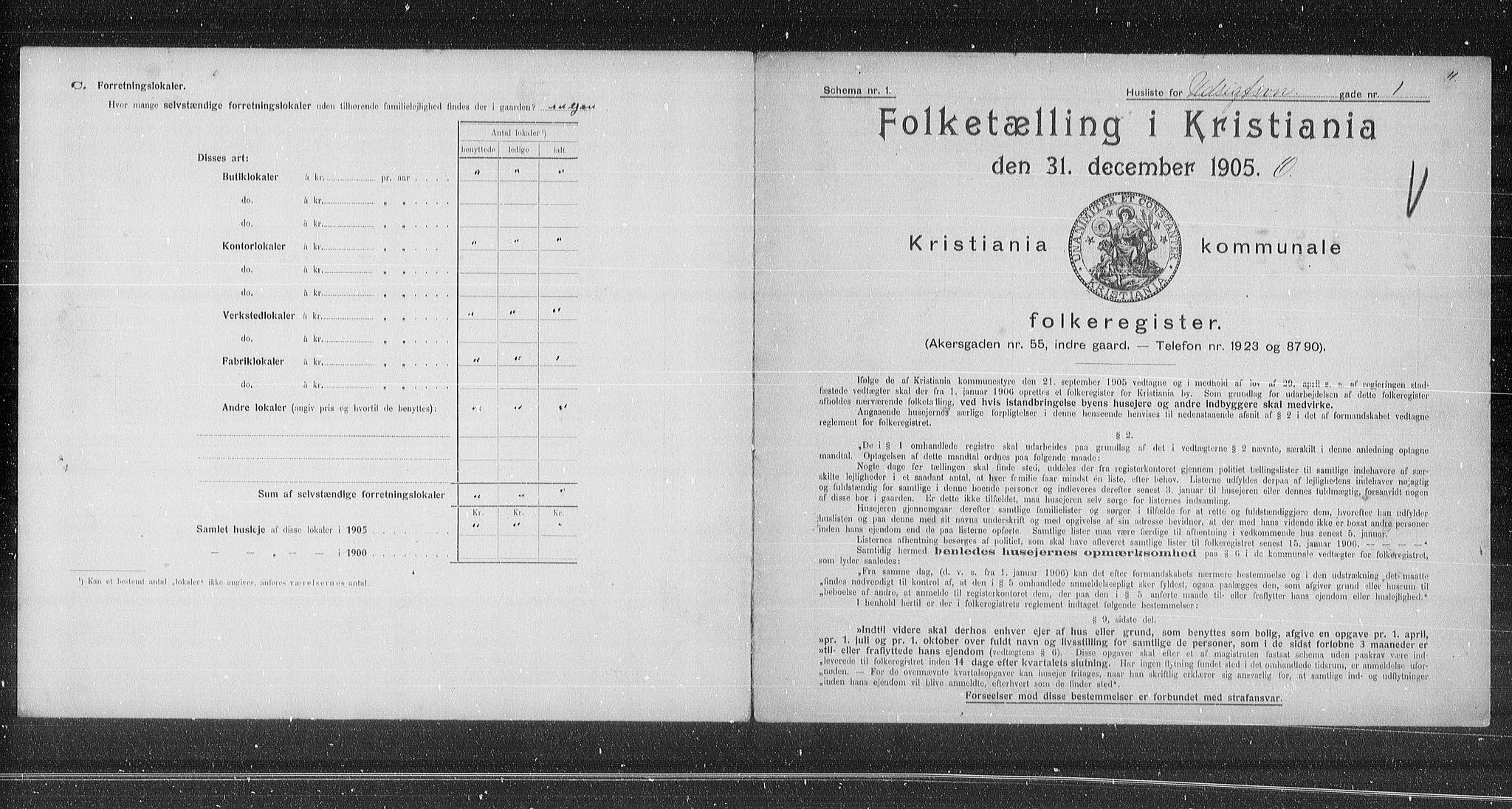 OBA, Municipal Census 1905 for Kristiania, 1905, p. 62278
