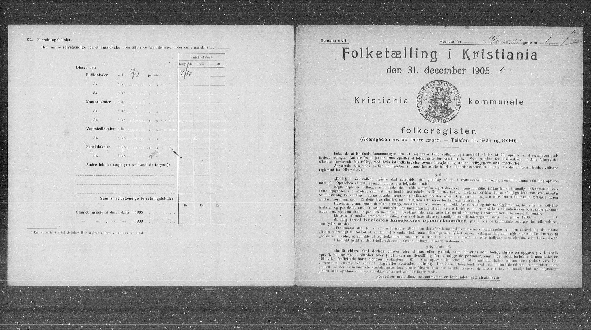 OBA, Municipal Census 1905 for Kristiania, 1905, p. 27946
