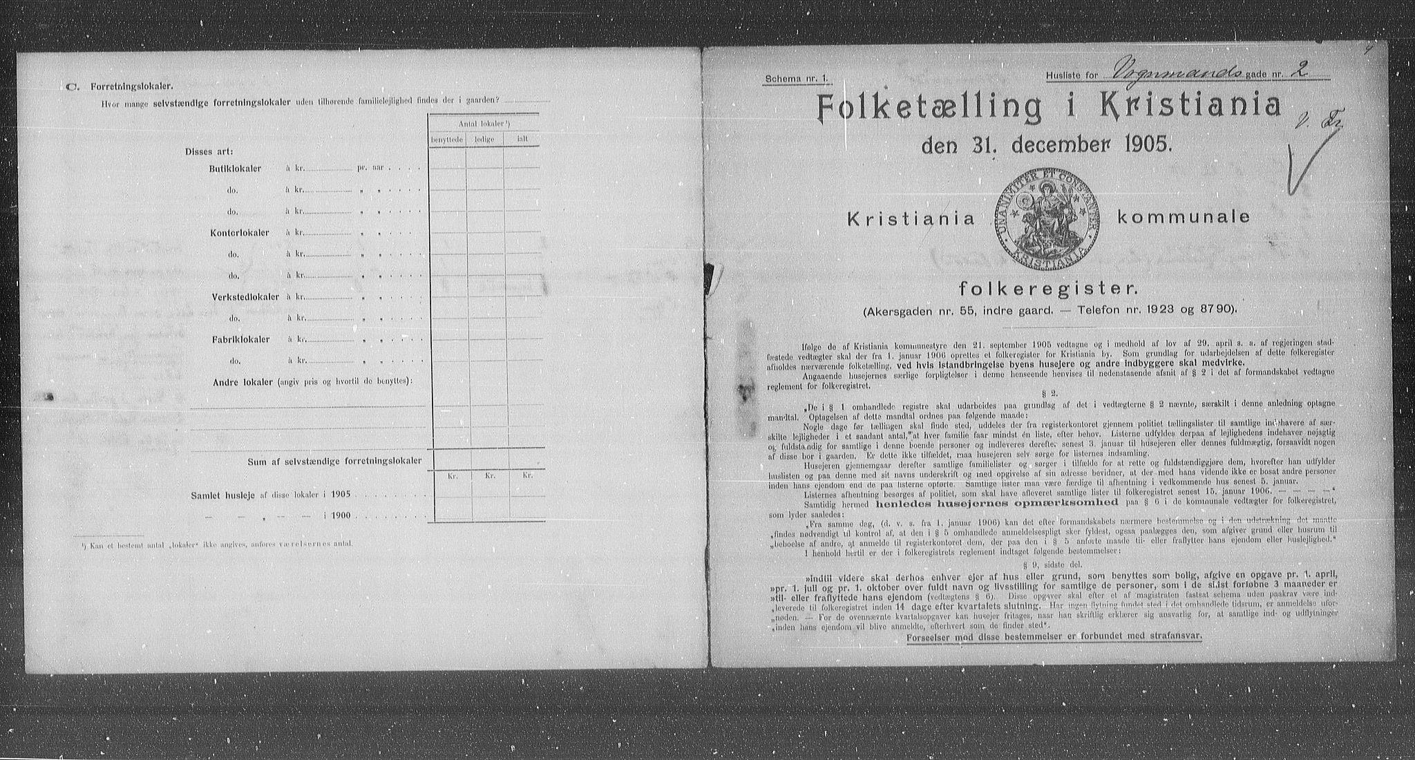 OBA, Municipal Census 1905 for Kristiania, 1905, p. 65486
