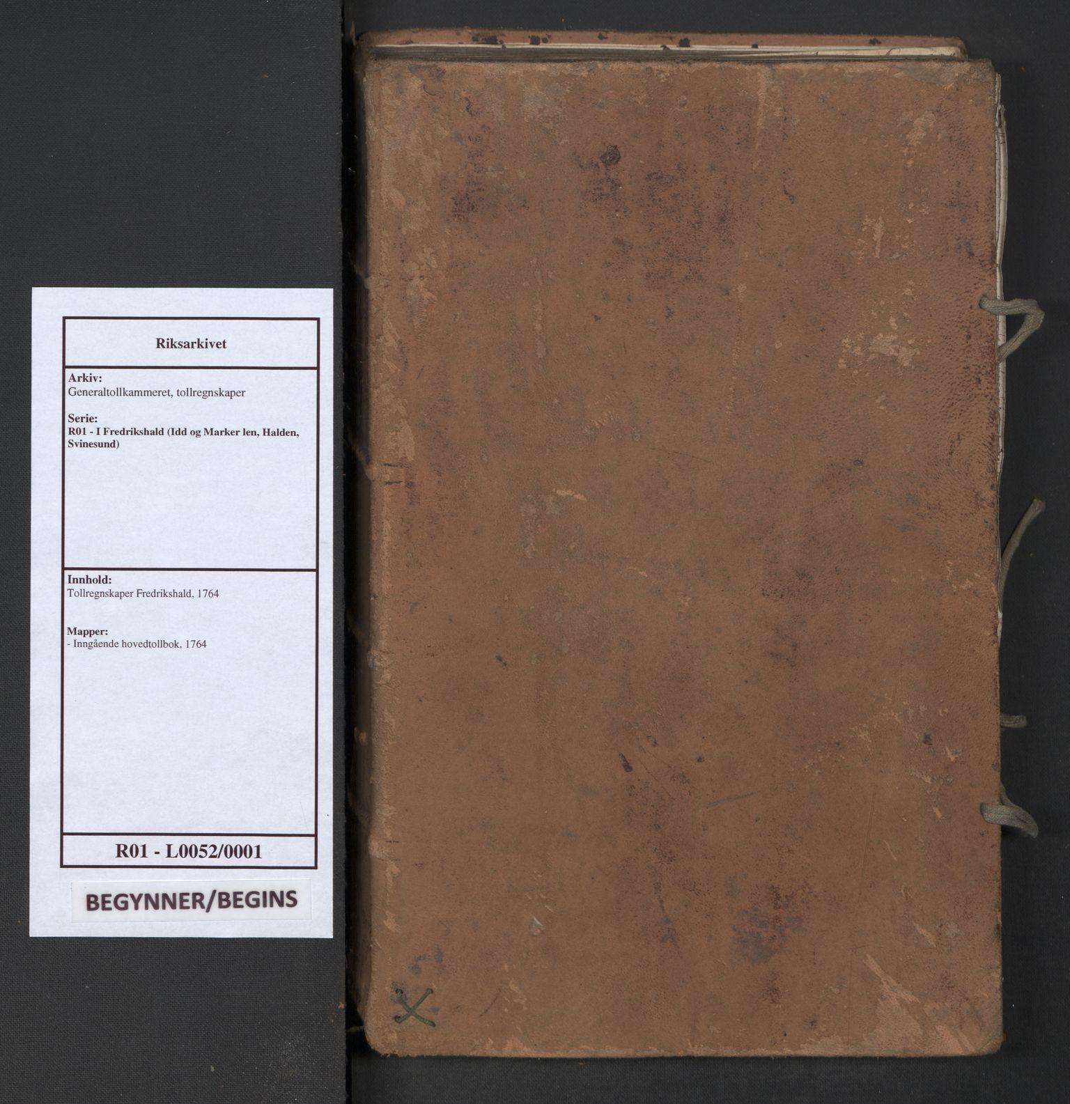 RA, Generaltollkammeret, tollregnskaper, R01/L0052: Tollregnskaper Fredrikshald, 1764