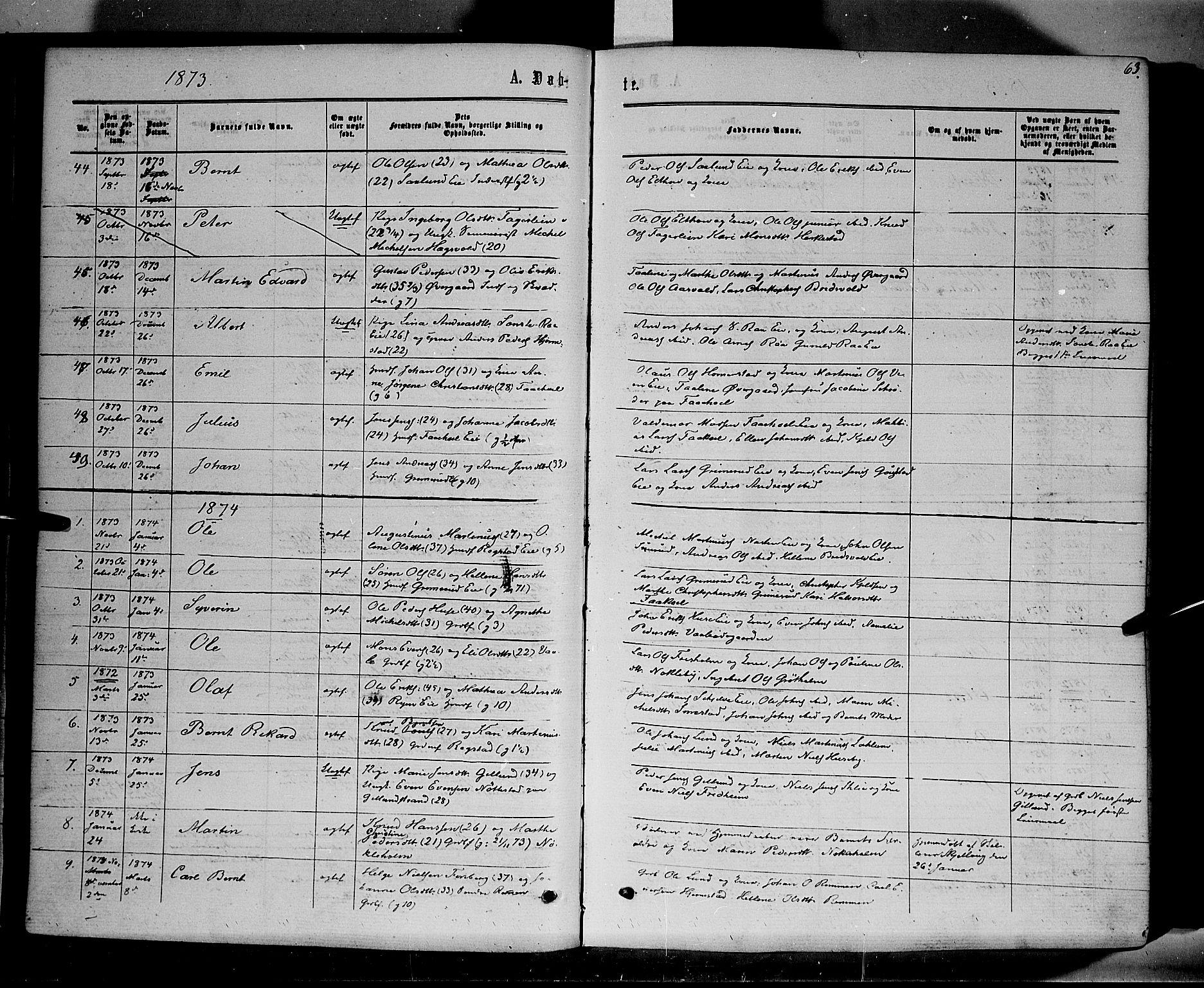 SAH, Stange prestekontor, K/L0013: Parish register (official) no. 13, 1862-1879, p. 63