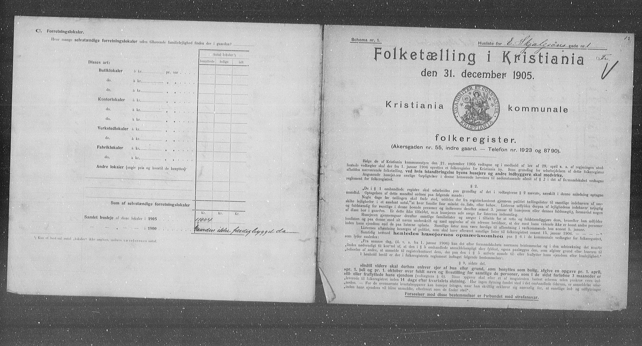 OBA, Municipal Census 1905 for Kristiania, 1905, p. 11413