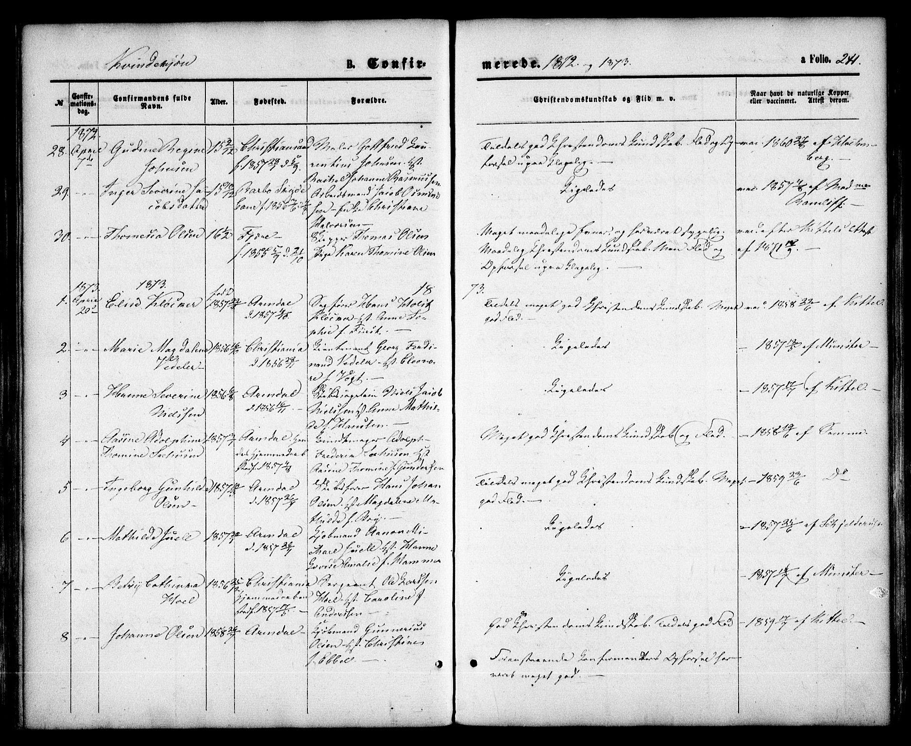 SAK, Arendal sokneprestkontor, Trefoldighet, F/Fa/L0007: Parish register (official) no. A 7, 1868-1878, p. 241