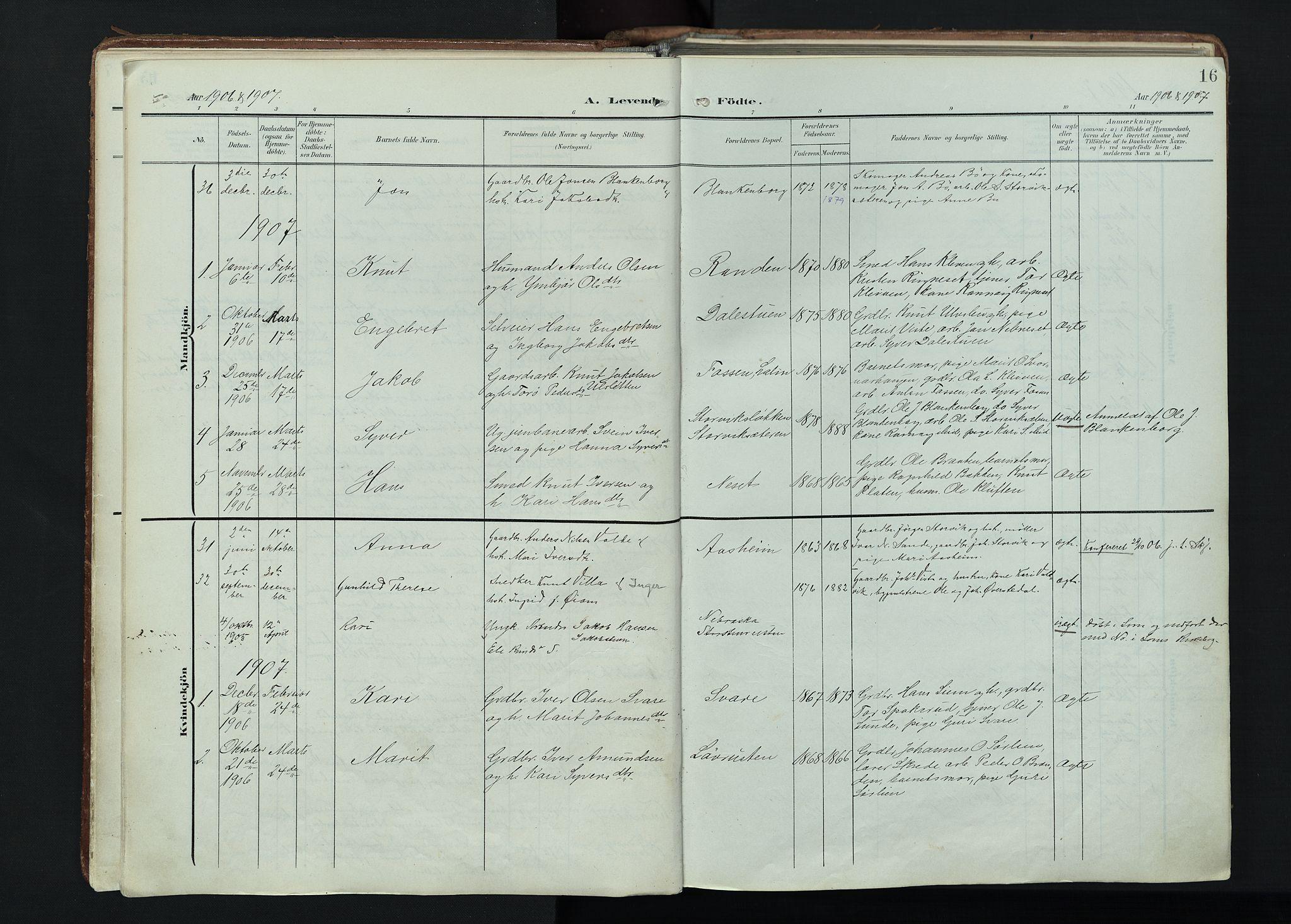 SAH, Vågå prestekontor, Parish register (official) no. 11, 1905-1924, p. 16