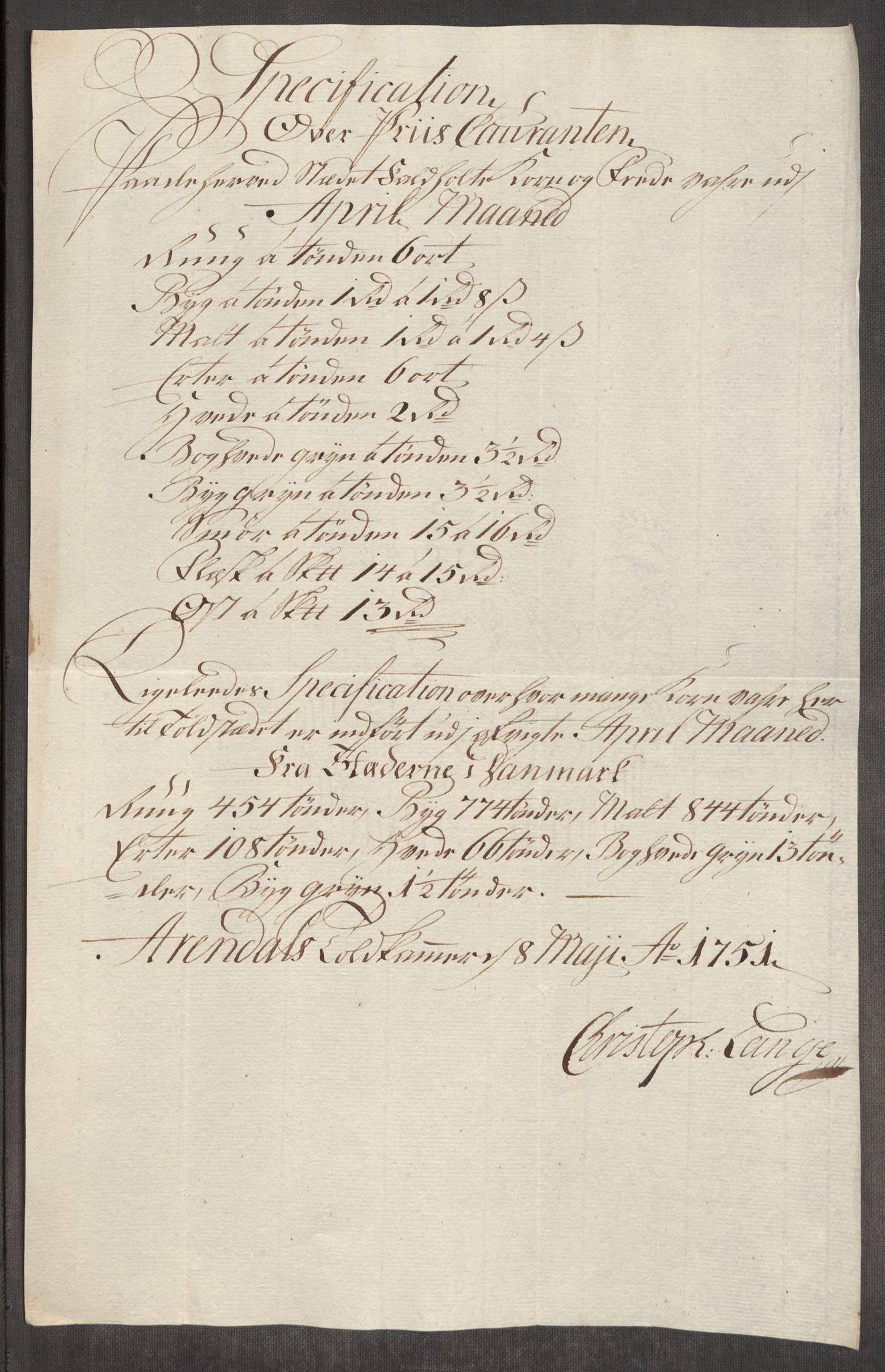 RA, Rentekammeret inntil 1814, Realistisk ordnet avdeling, Oe/L0004: [Ø1]: Priskuranter, 1749-1752, p. 673
