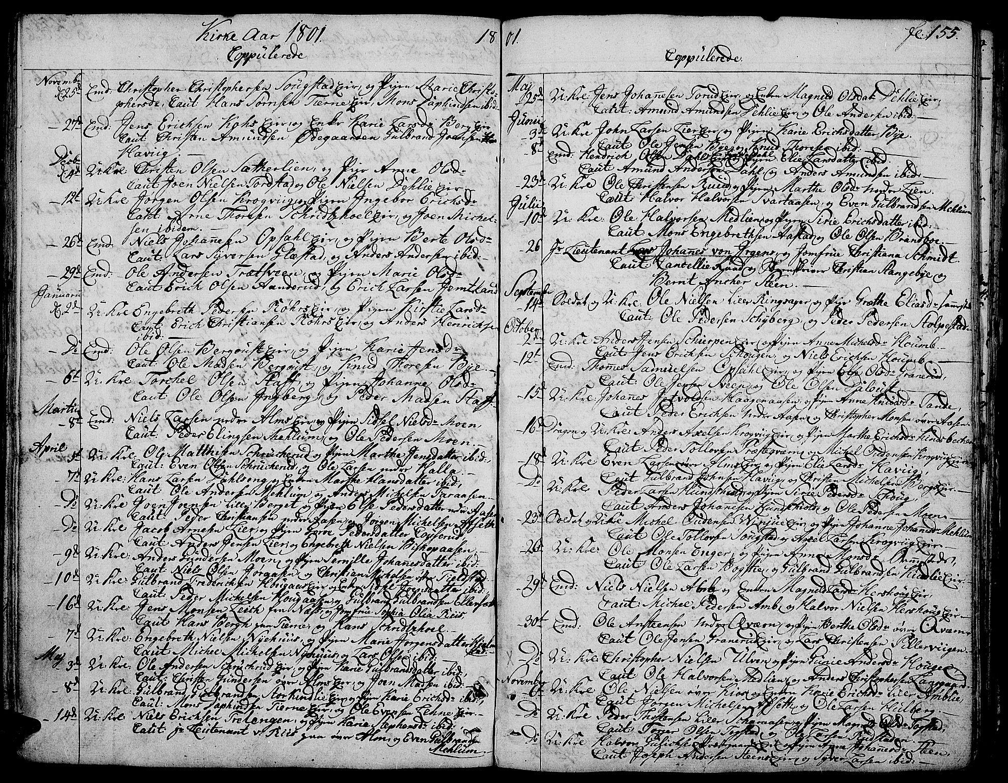 SAH, Ringsaker prestekontor, K/Ka/L0004: Parish register (official) no. 4, 1799-1814, p. 155