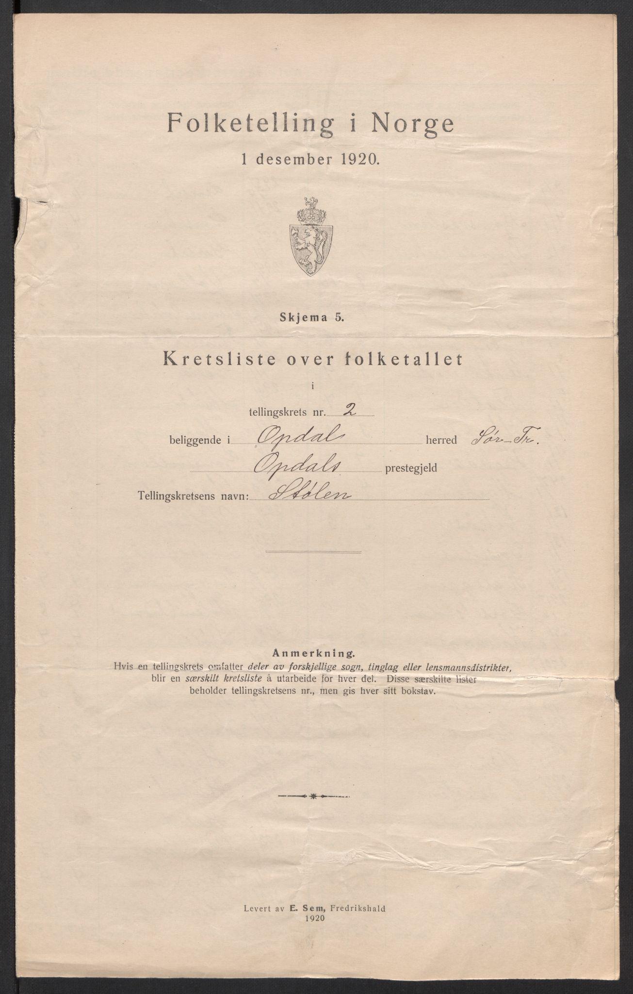 SAT, 1920 census for Oppdal, 1920, p. 9