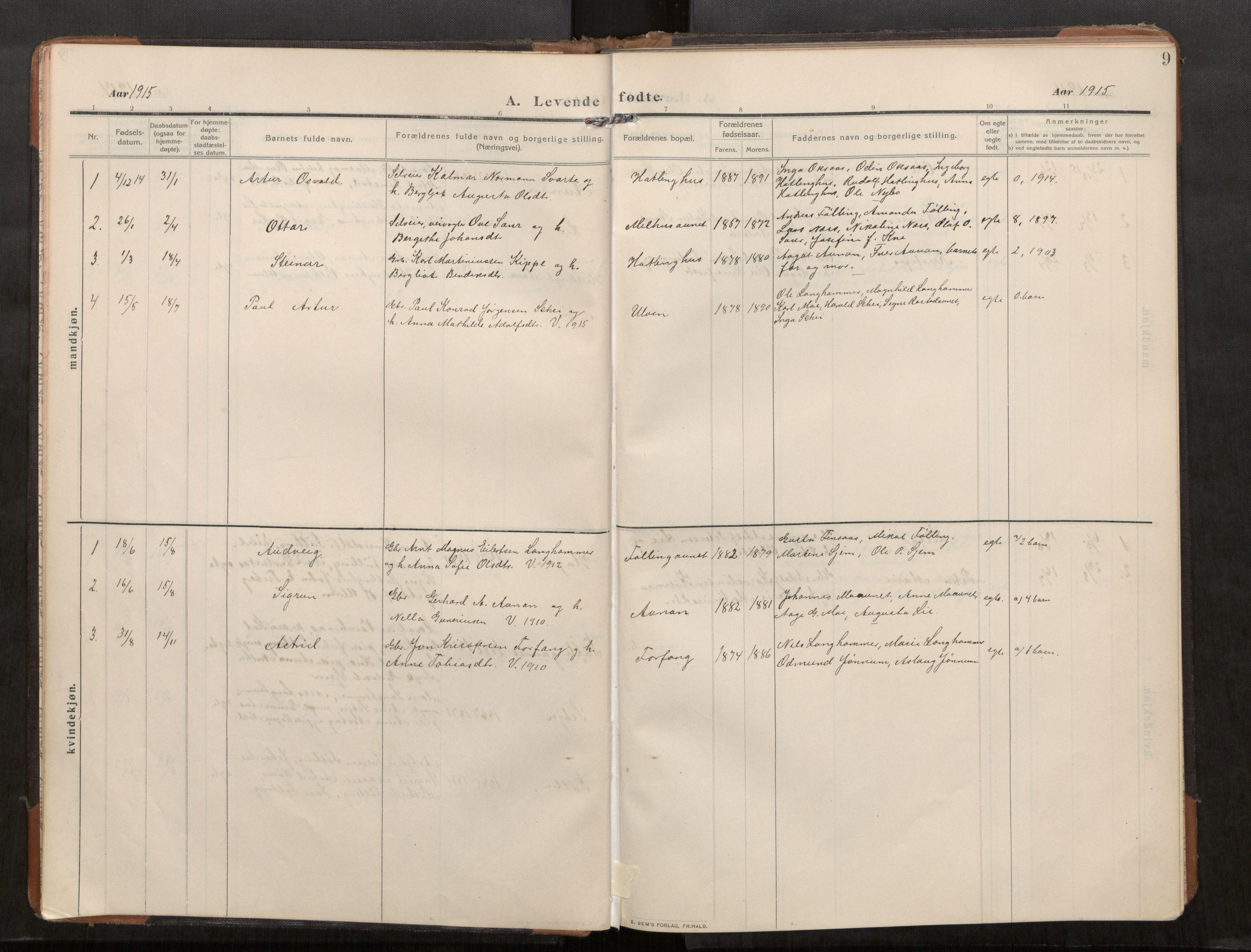 SAT, Stod sokneprestkontor, I/I1/I1a/L0003: Parish register (official) no. 3, 1909-1934, p. 9