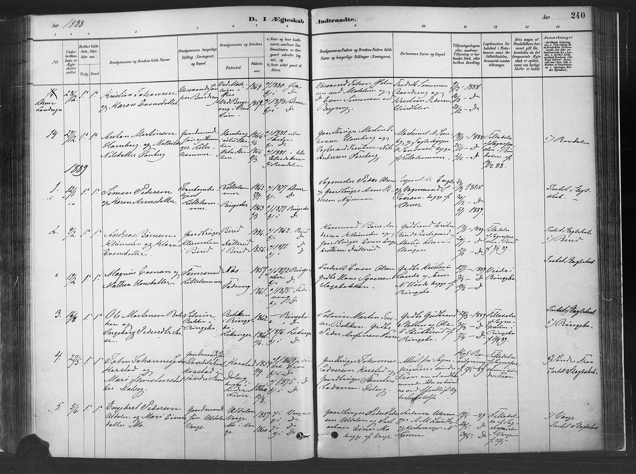 SAH, Fåberg prestekontor, H/Ha/Haa/L0010: Parish register (official) no. 10, 1879-1900, p. 240