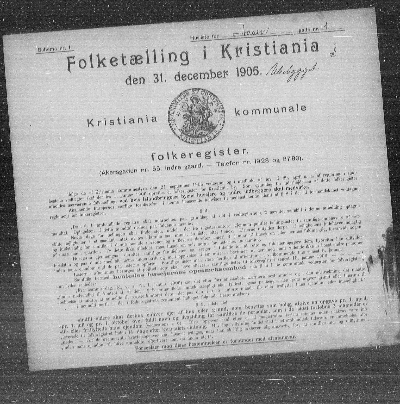 OBA, Municipal Census 1905 for Kristiania, 1905, p. 68892