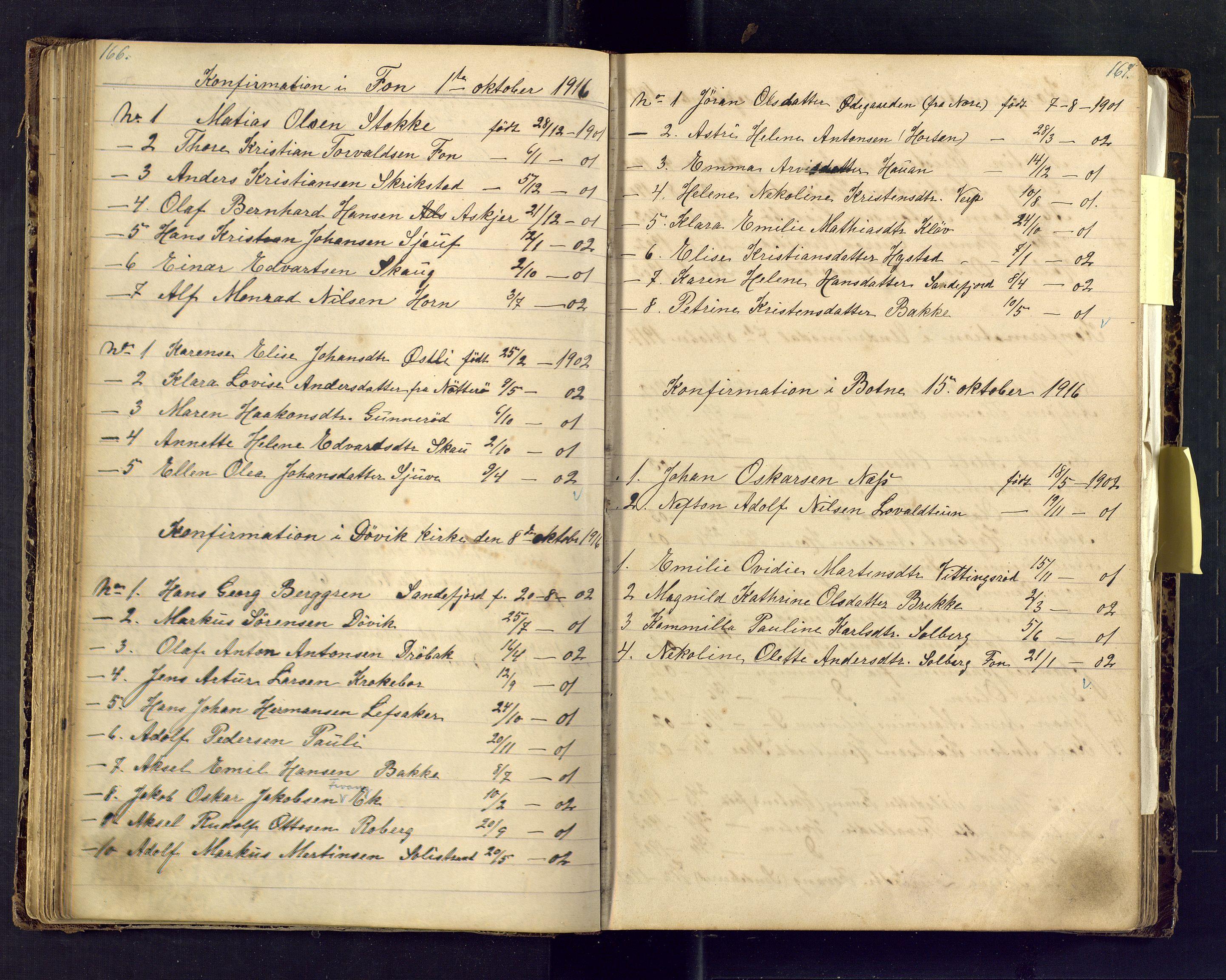SAKO, Den evangelisk lutherske frimenighet i Jarlsbergs grevskap med flere steder, F/Fa/L0001: Dissenter register no. Fa/L0001, 1872-1925, p. 166-167