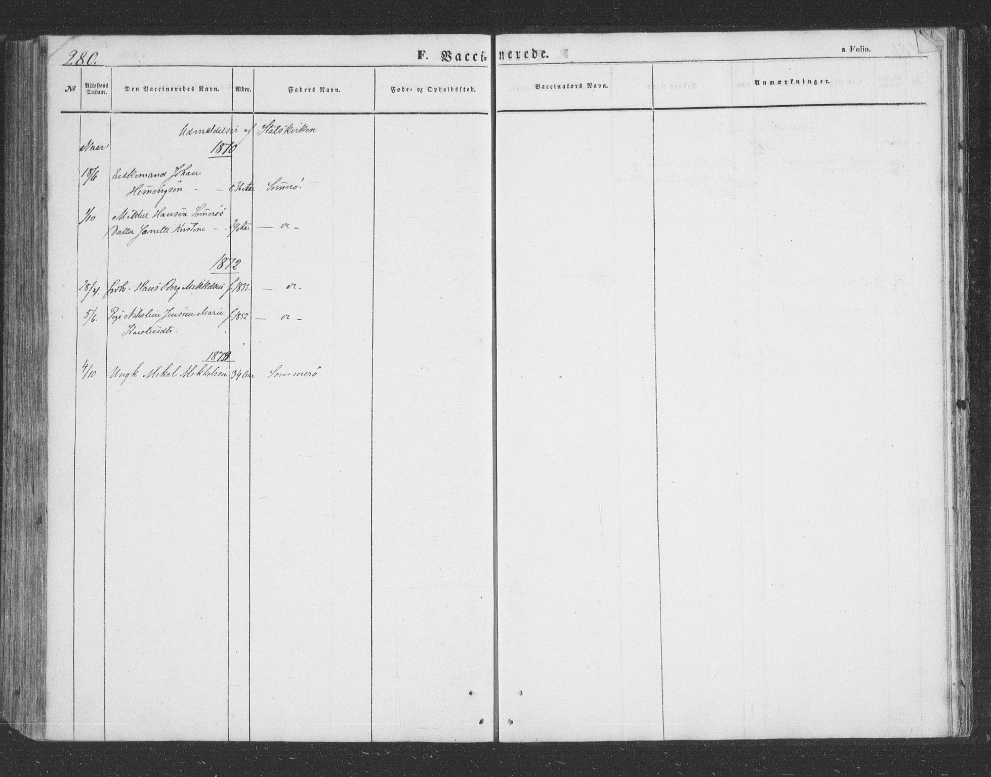 SATØ, Lenvik sokneprestembete, H/Ha: Parish register (copy) no. 20, 1855-1883, p. 280