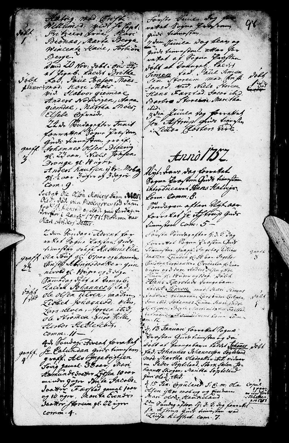 SAB, Os sokneprestembete*, Parish register (official) no. A 2, 1723-1758, p. 98