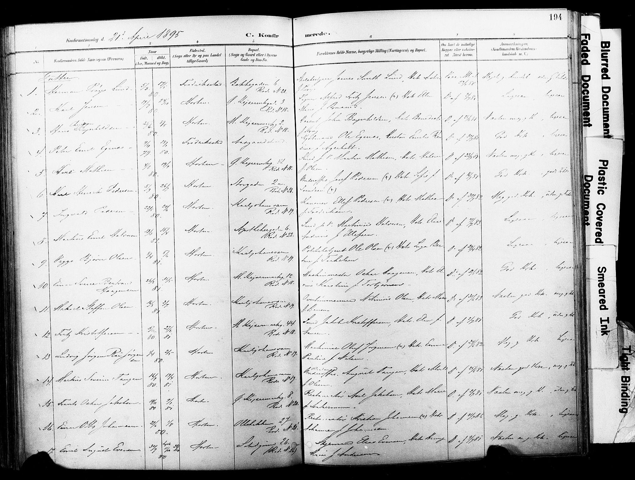 SAKO, Horten kirkebøker, F/Fa/L0004: Parish register (official) no. 4, 1888-1895, p. 194