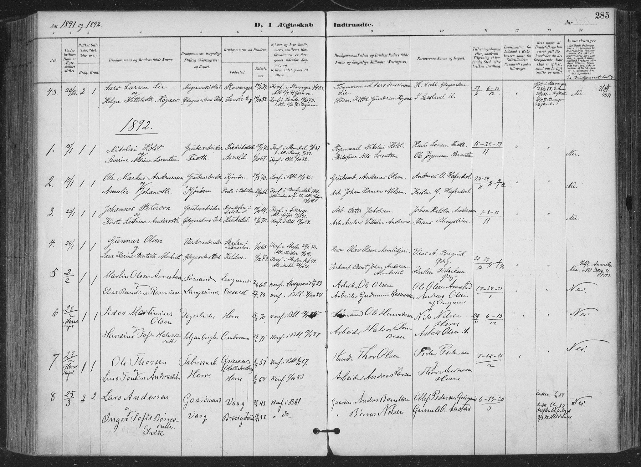 SAKO, Bamble kirkebøker, F/Fa/L0008: Parish register (official) no. I 8, 1888-1900, p. 285