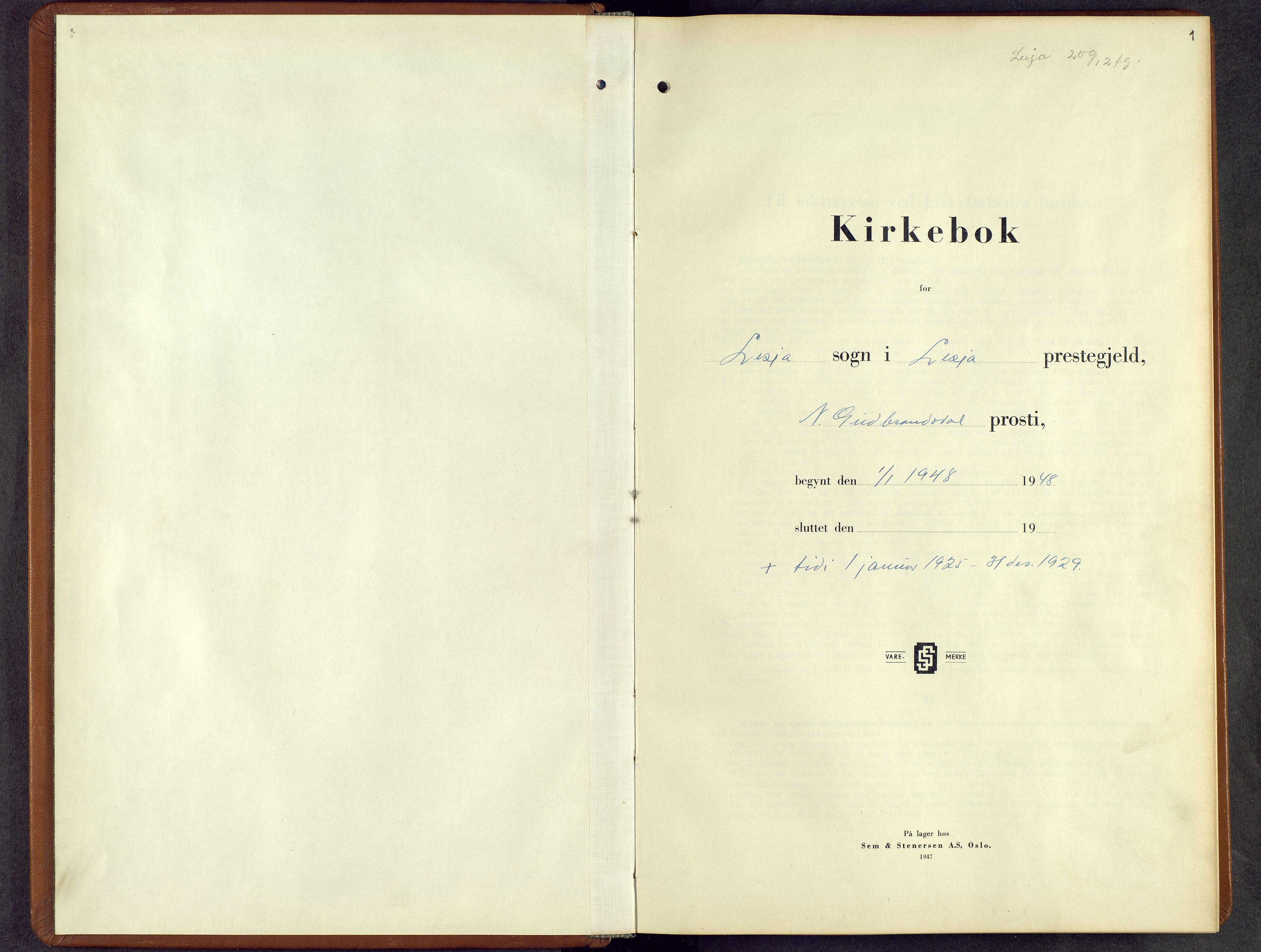 SAH, Lesja prestekontor, Parish register (copy) no. 10, 1925-1960, p. 1