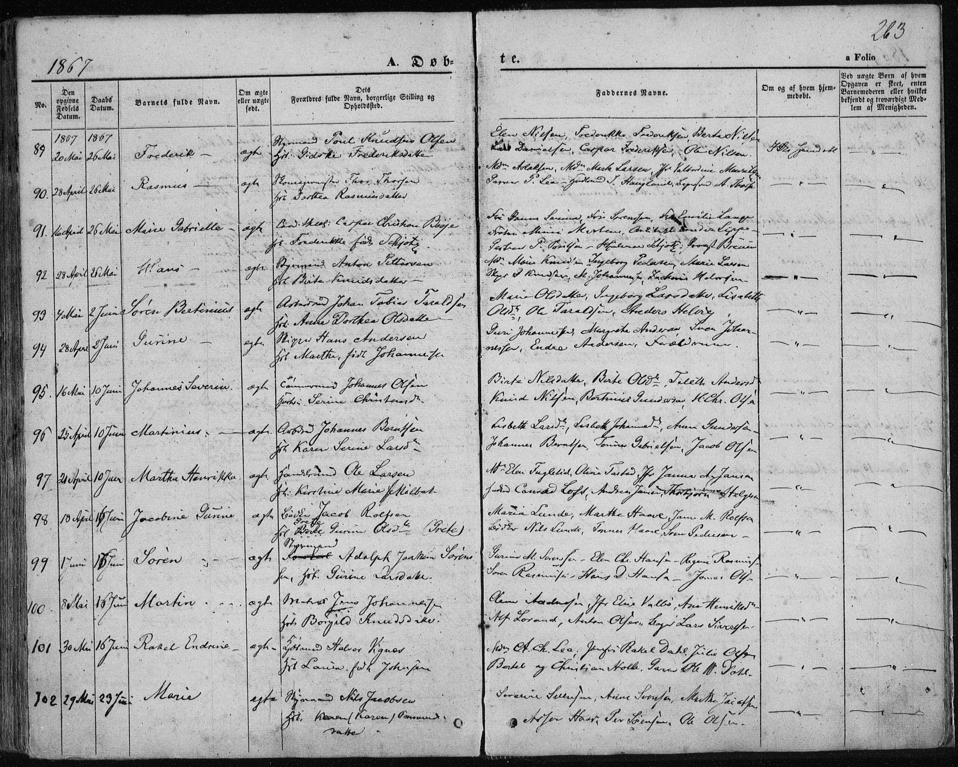 SAST, Domkirken sokneprestkontor, 30/30BA/L0017: Parish register (official) no. A 16, 1855-1867, p. 263
